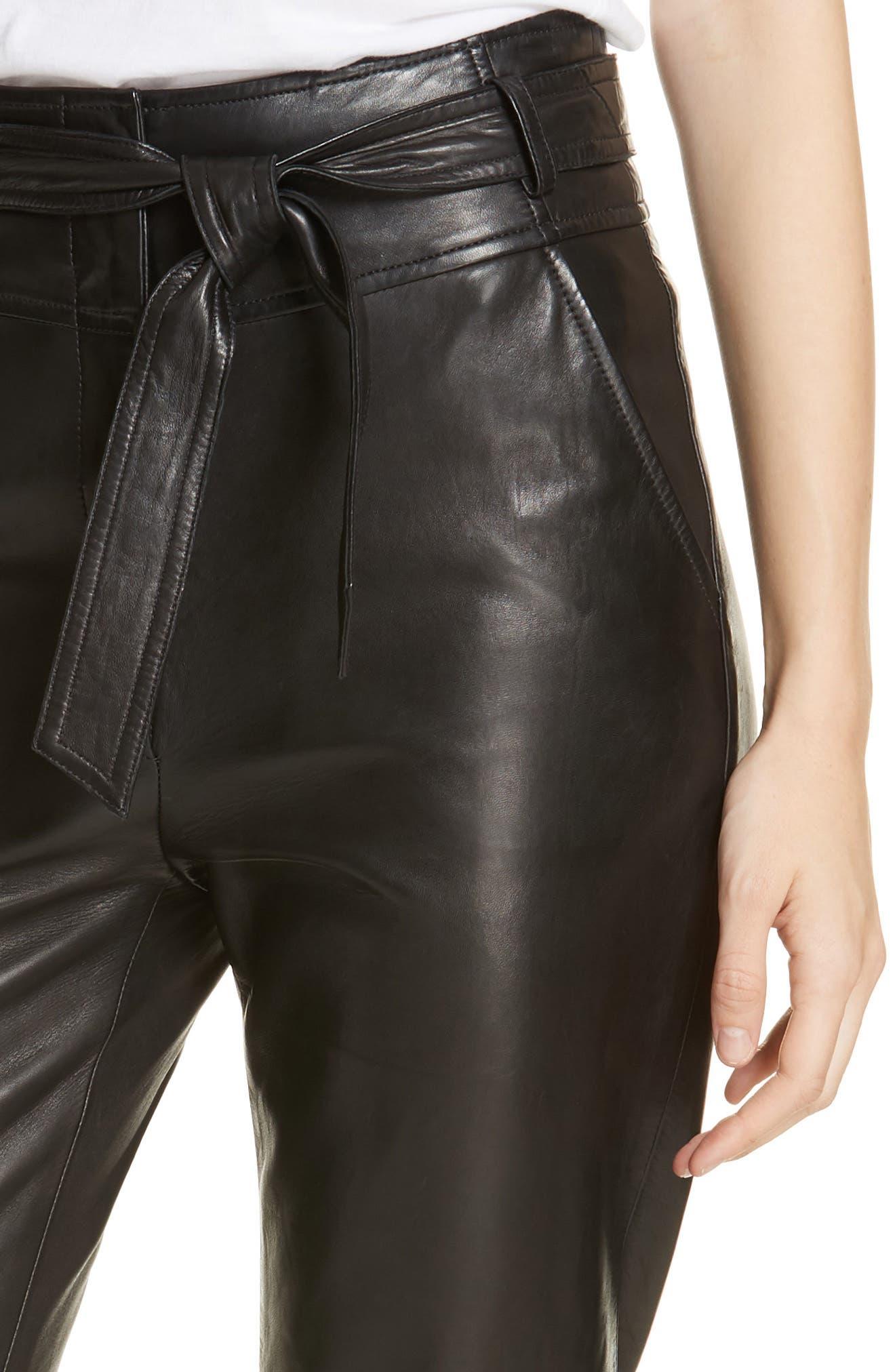 Faxon Leather Pants,                             Alternate thumbnail 4, color,                             BLACK