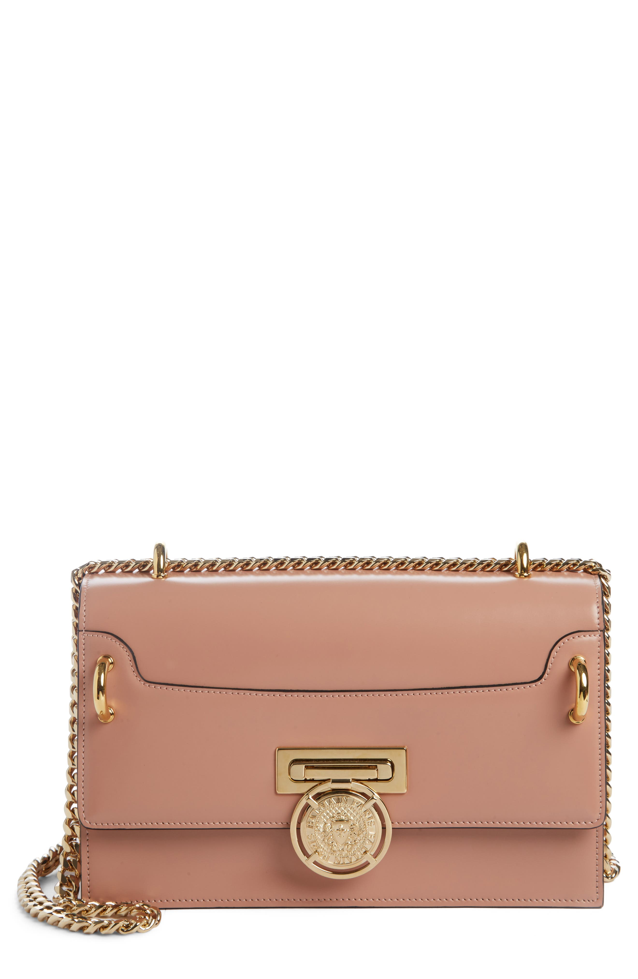 Glace Leather Box Shoulder Bag,                         Main,                         color, POUDRE
