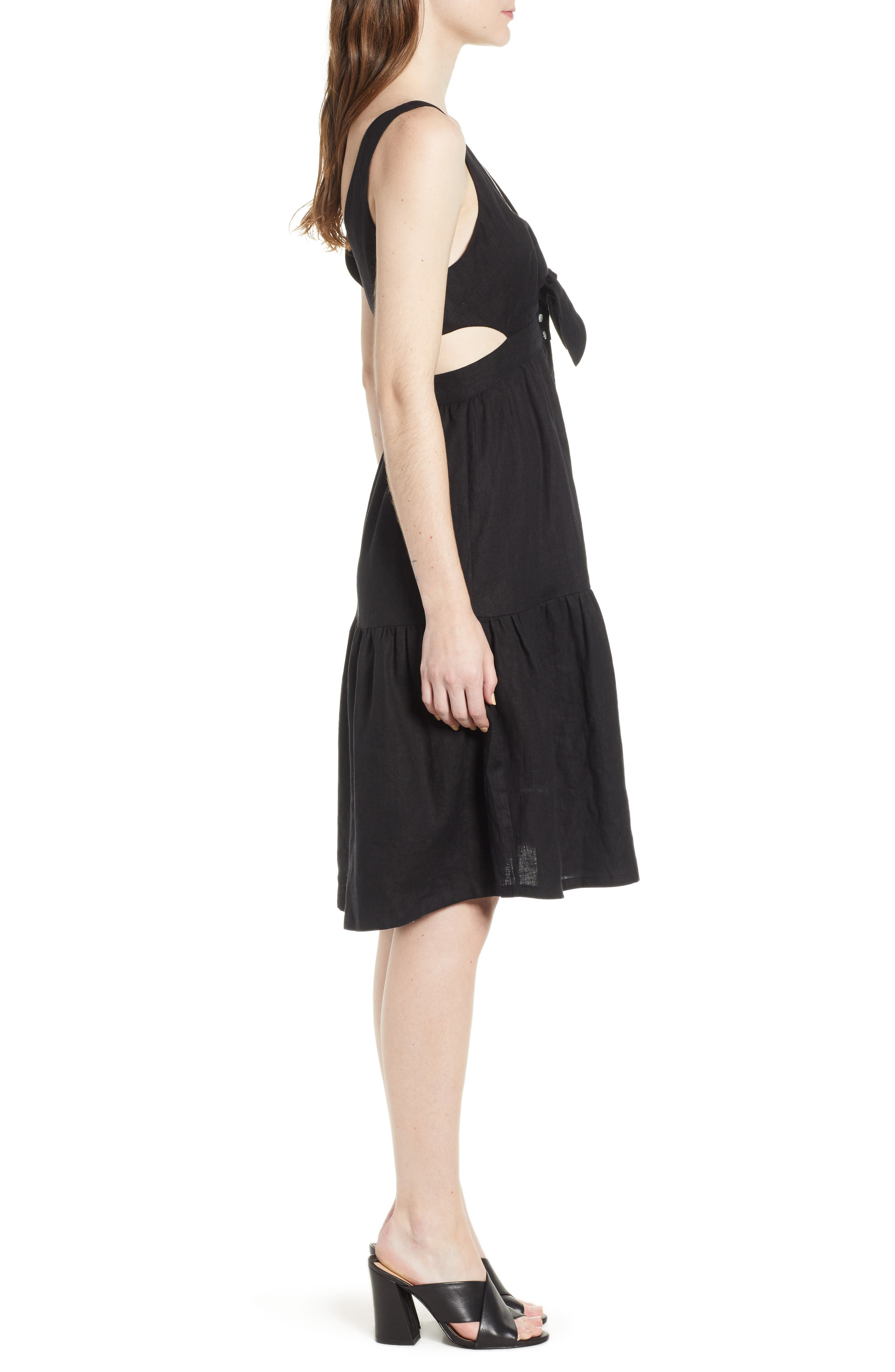 Palizzi Cutout Tie Front Dress,                             Alternate thumbnail 3, color,                             001
