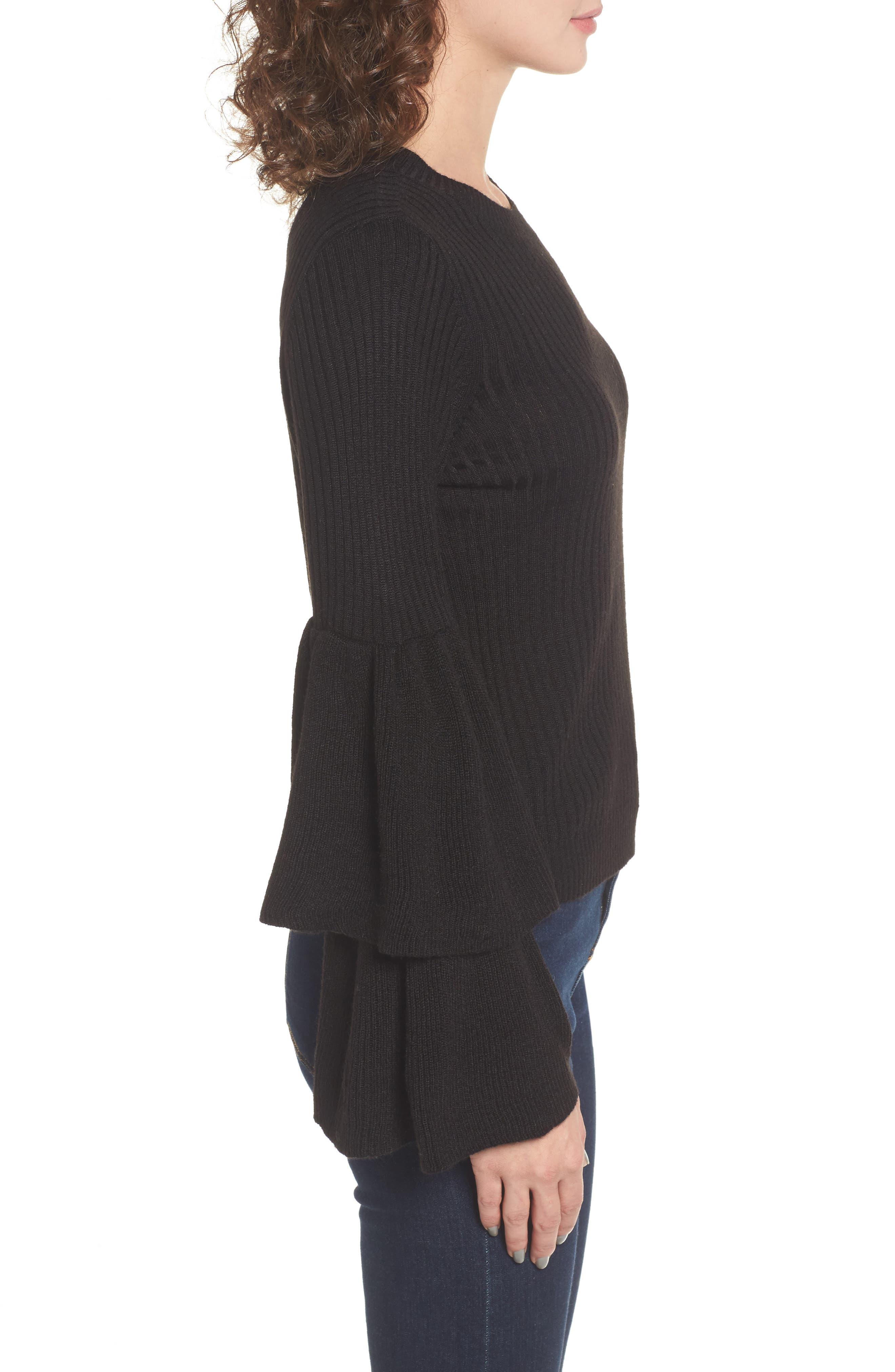 Tiara Bell Sleeve Sweater,                             Alternate thumbnail 3, color,                             001