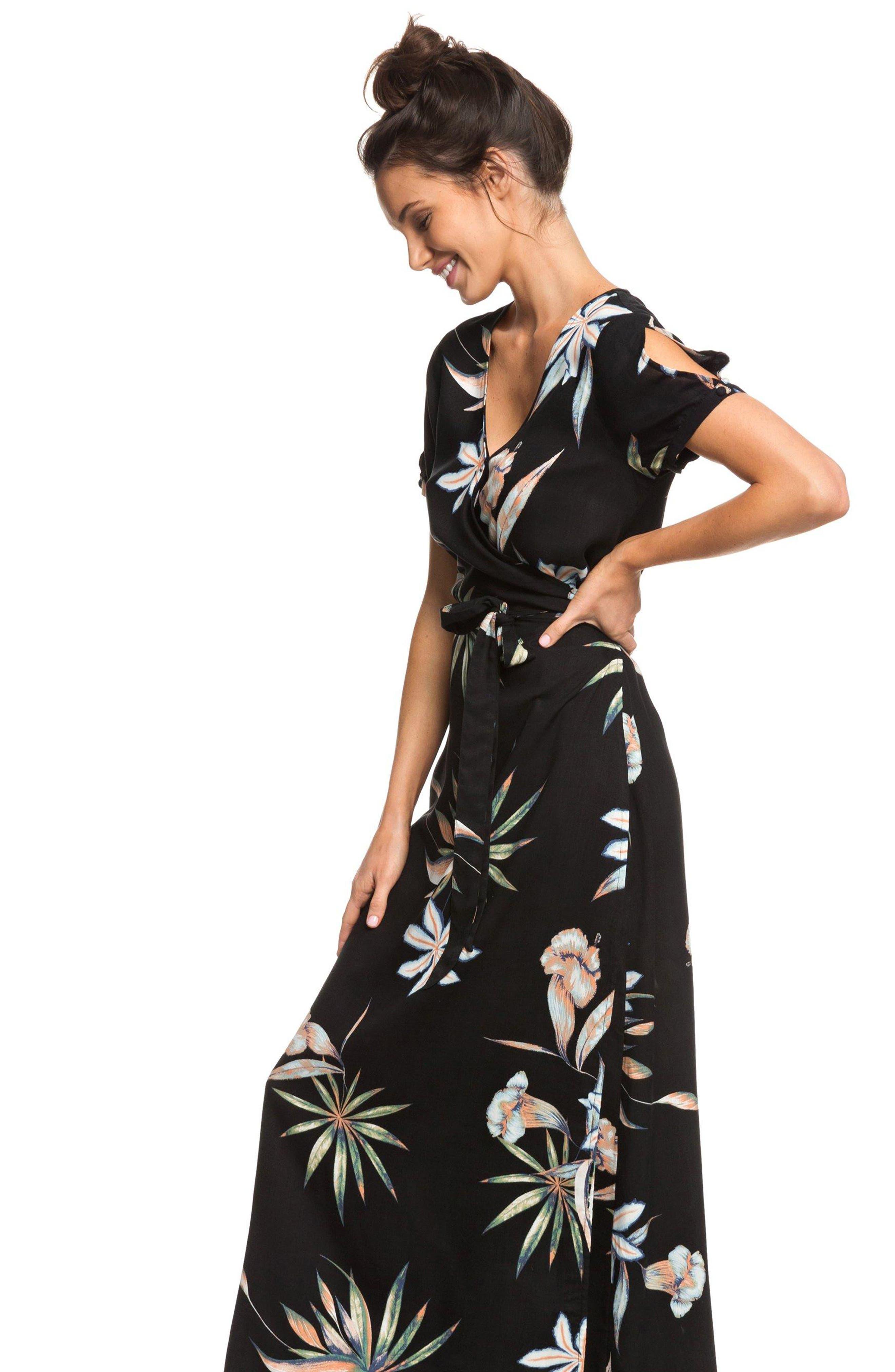 Lotus Heart Midi Dress,                             Alternate thumbnail 8, color,                             TRUE BLACK NIGHTLIGHTS