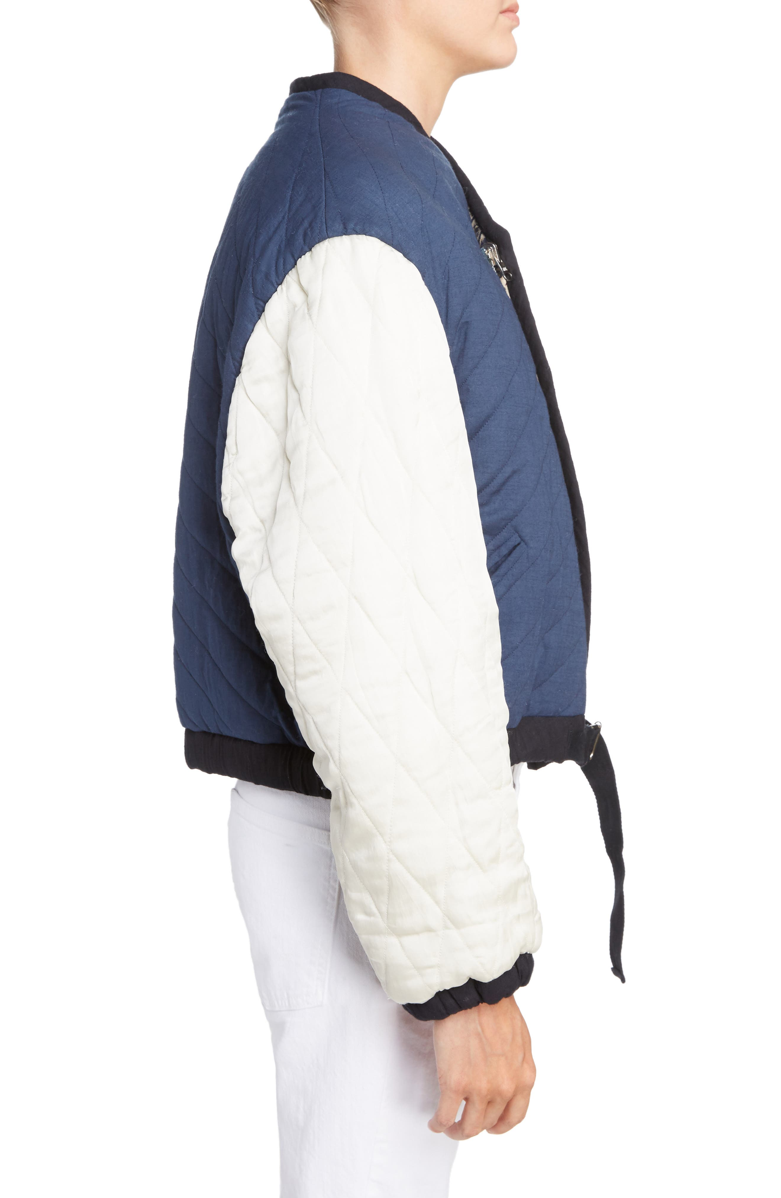 Isabel Marant Étoile Hanae Quilted Bomber,                             Alternate thumbnail 3, color,                             400