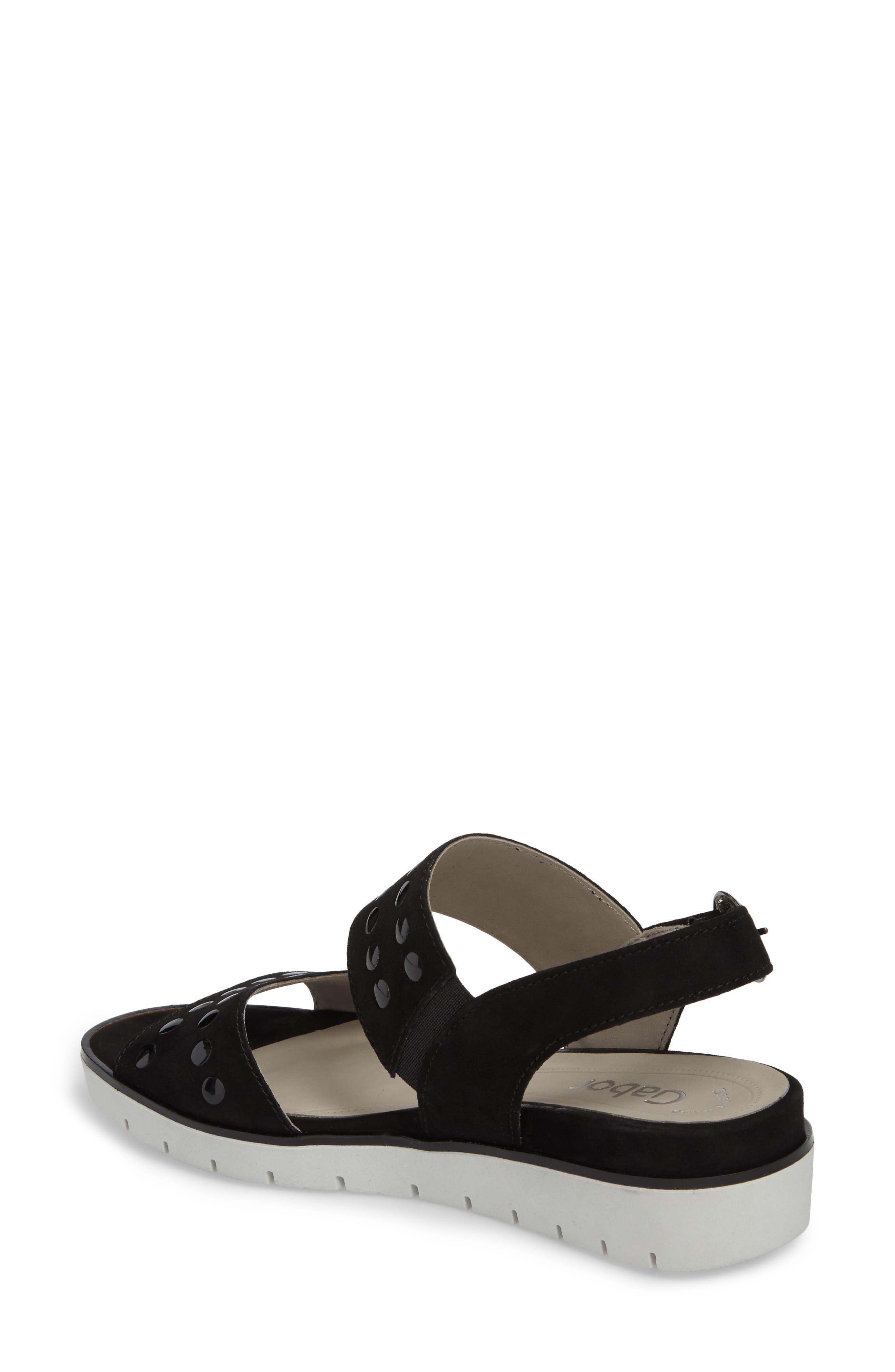 Studded Sandal,                             Alternate thumbnail 2, color,                             BLACK SUEDE