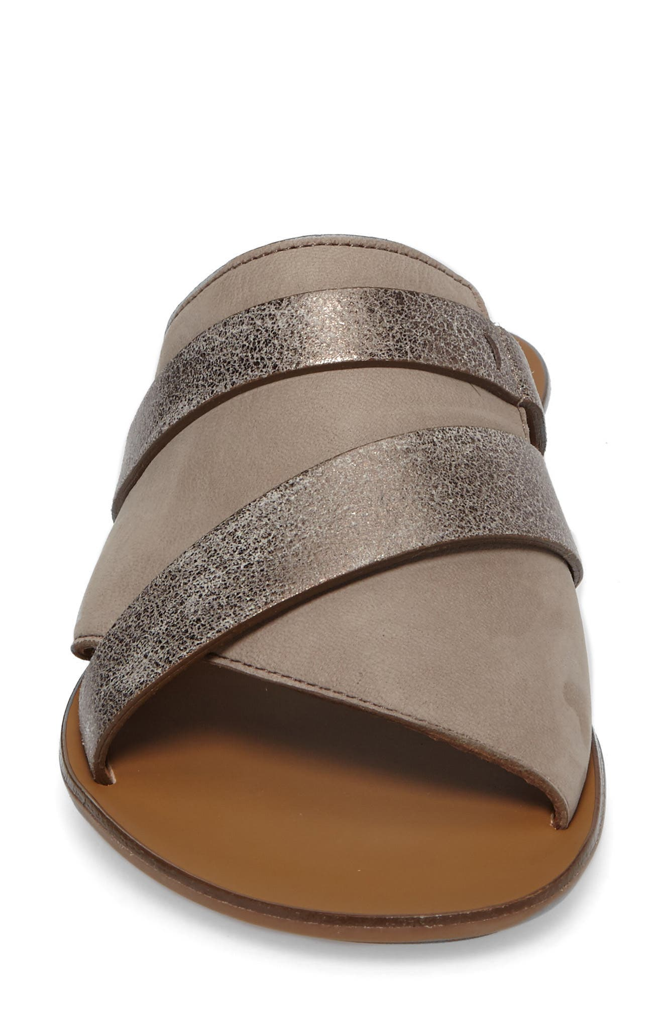 'Bayside' Leather Sandal,                             Alternate thumbnail 4, color,                             GREY