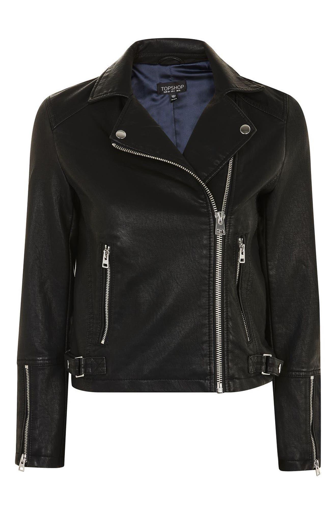 Daze Faux Leather Biker Jacket,                             Alternate thumbnail 3, color,                             001