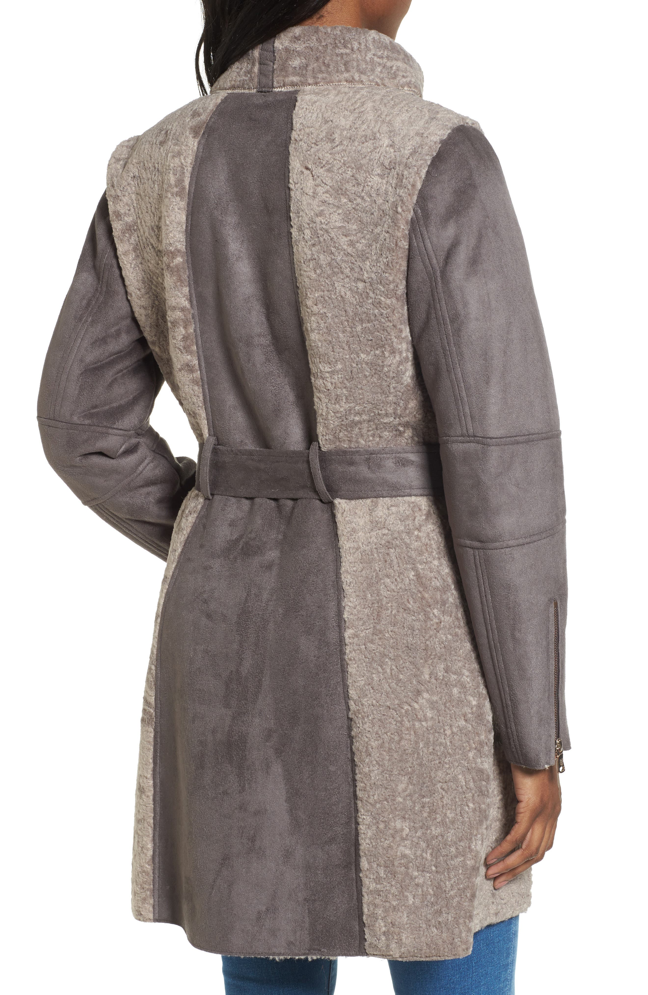 Faux Shearling Coat,                             Alternate thumbnail 4, color,