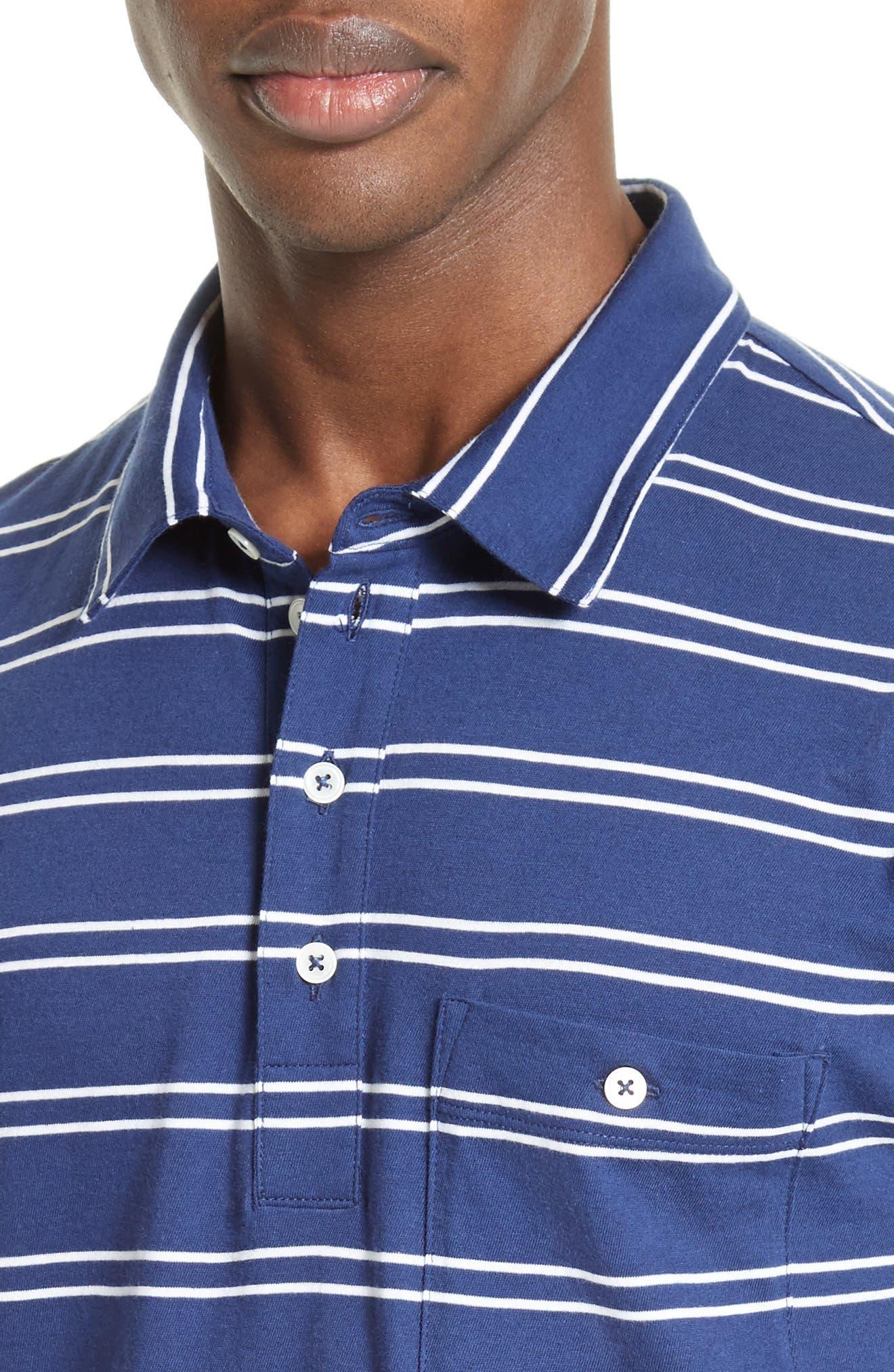 Fine Stripe Double Face Polo,                             Alternate thumbnail 4, color,                             400