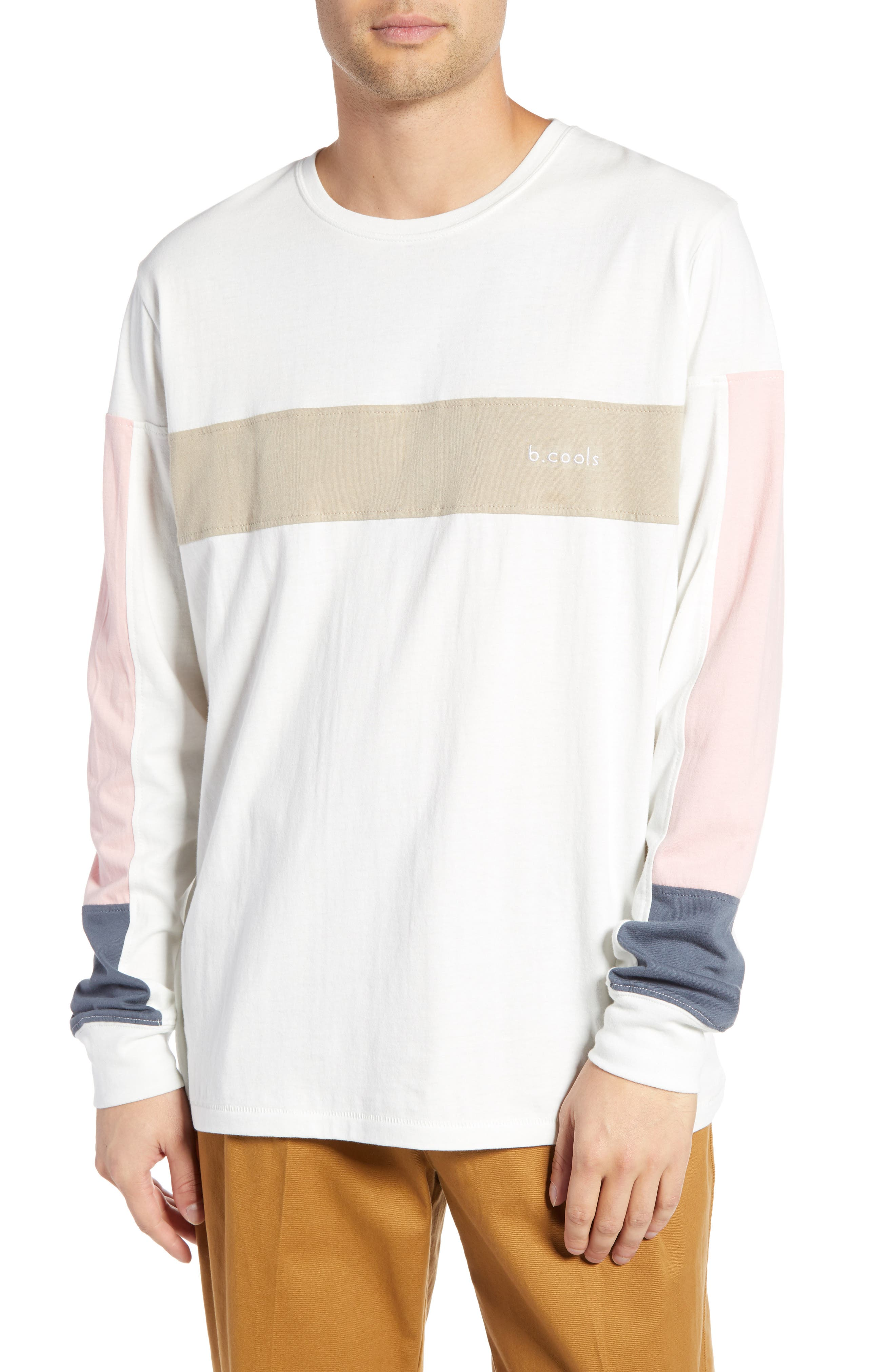 BARNEY COOLS B.Quick Colorblock Long Sleeve T-Shirt in Bone
