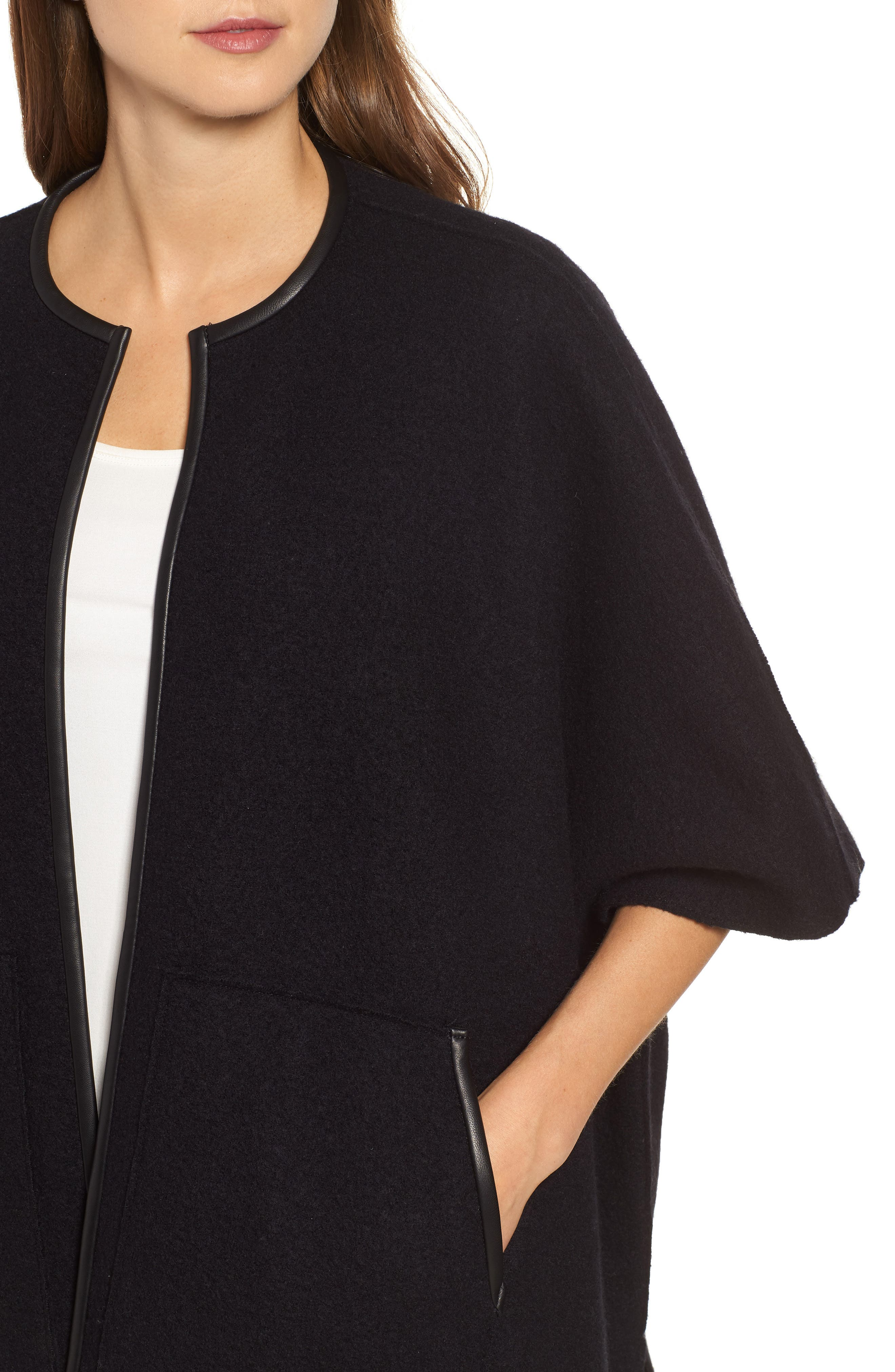 Boiled Wool Poncho Jacket with Leather Trim,                             Alternate thumbnail 4, color,                             BLACK