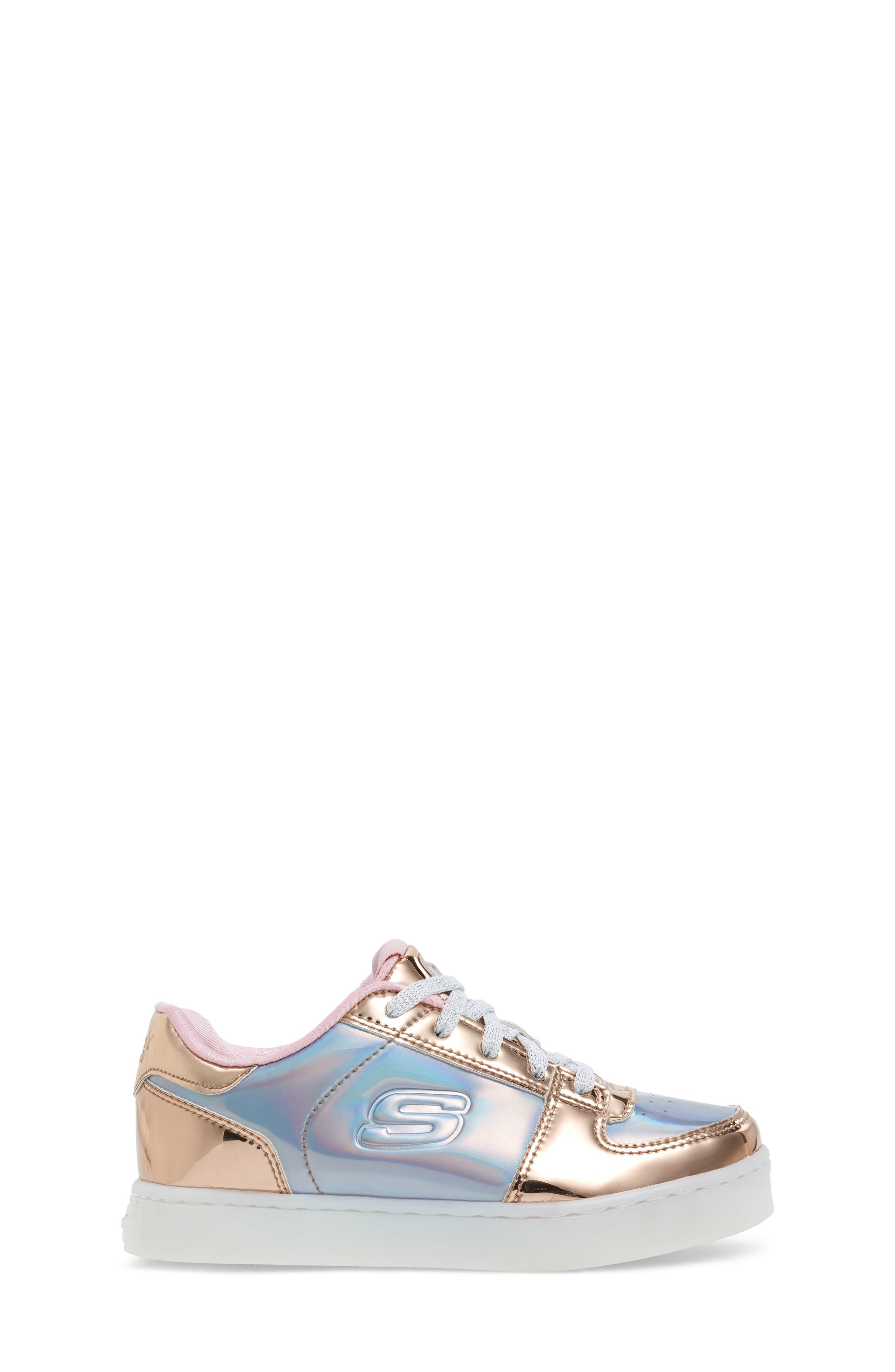 SKECHERS,                             Energy Lights Shiny Light-Up Sneaker,                             Alternate thumbnail 3, color,                             222