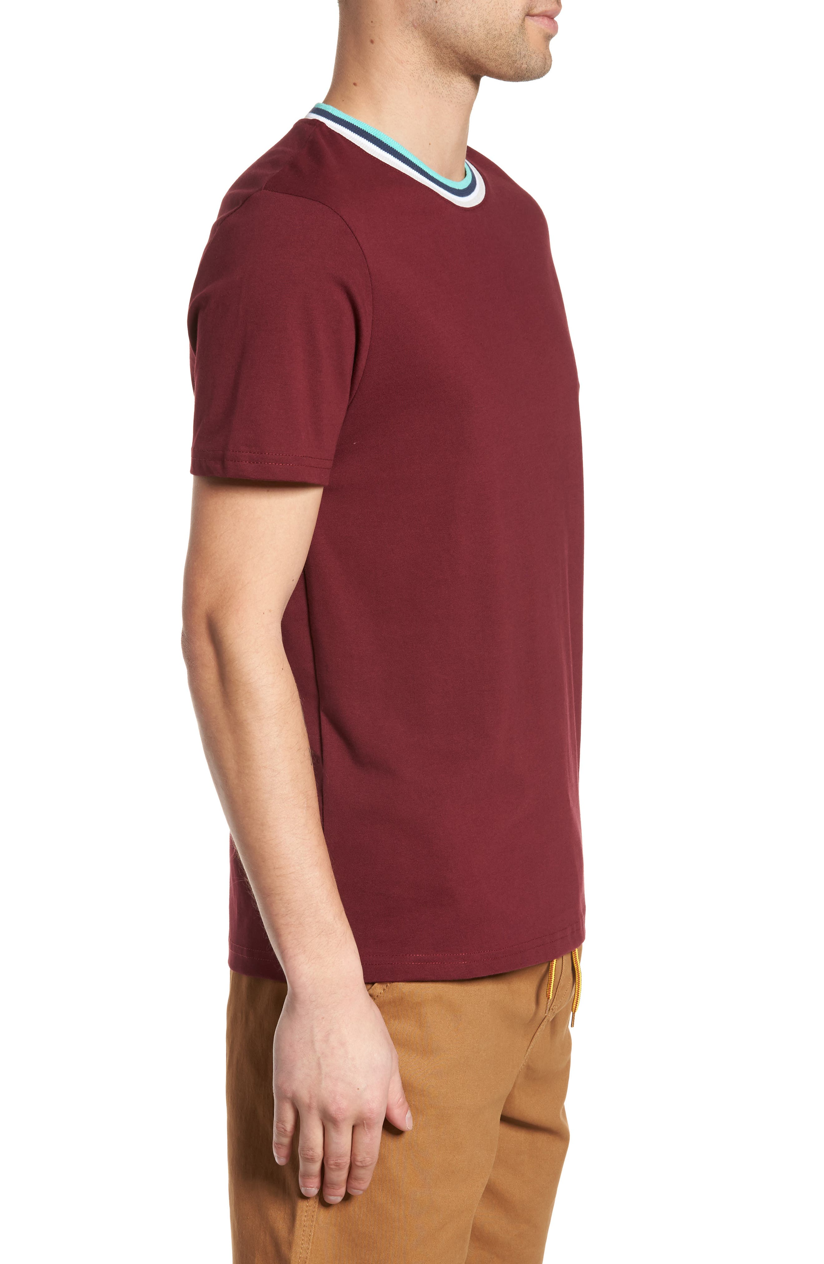 Stripe Tipped Ringer T-Shirt,                             Alternate thumbnail 6, color,