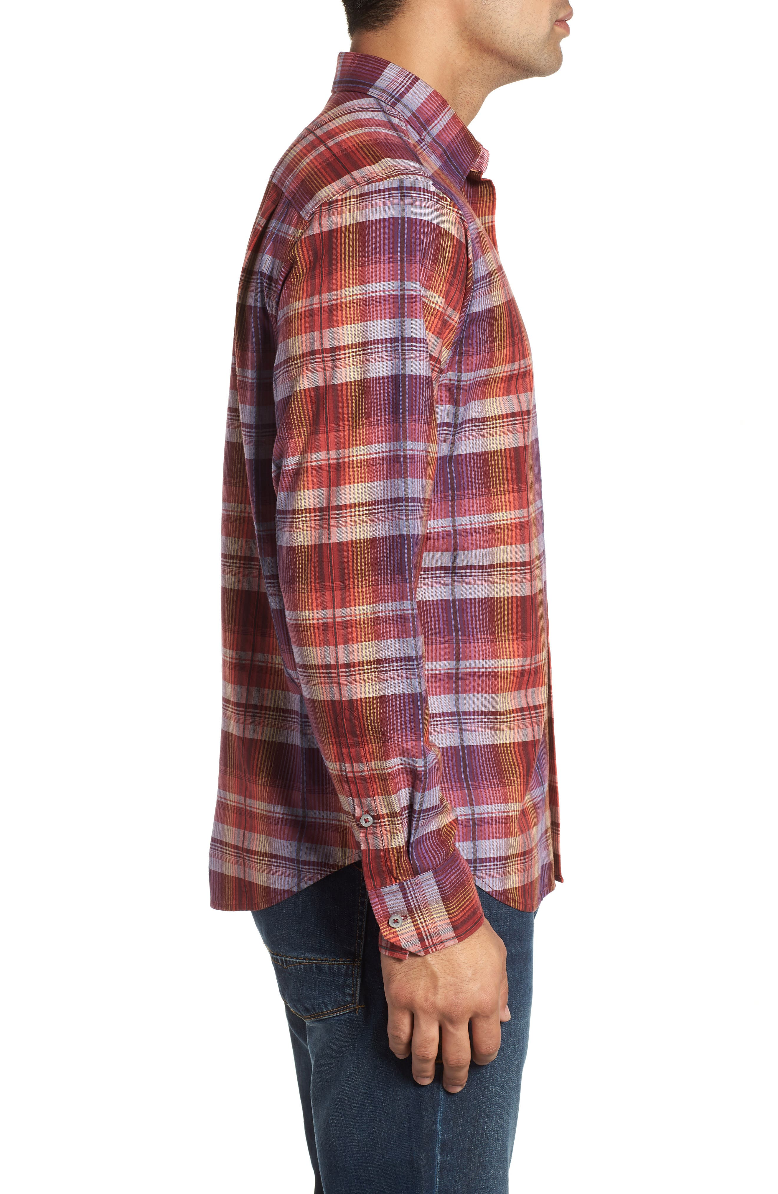 Puerto Prism Plaid Sport Shirt,                             Alternate thumbnail 4, color,                             SCOOTER RED