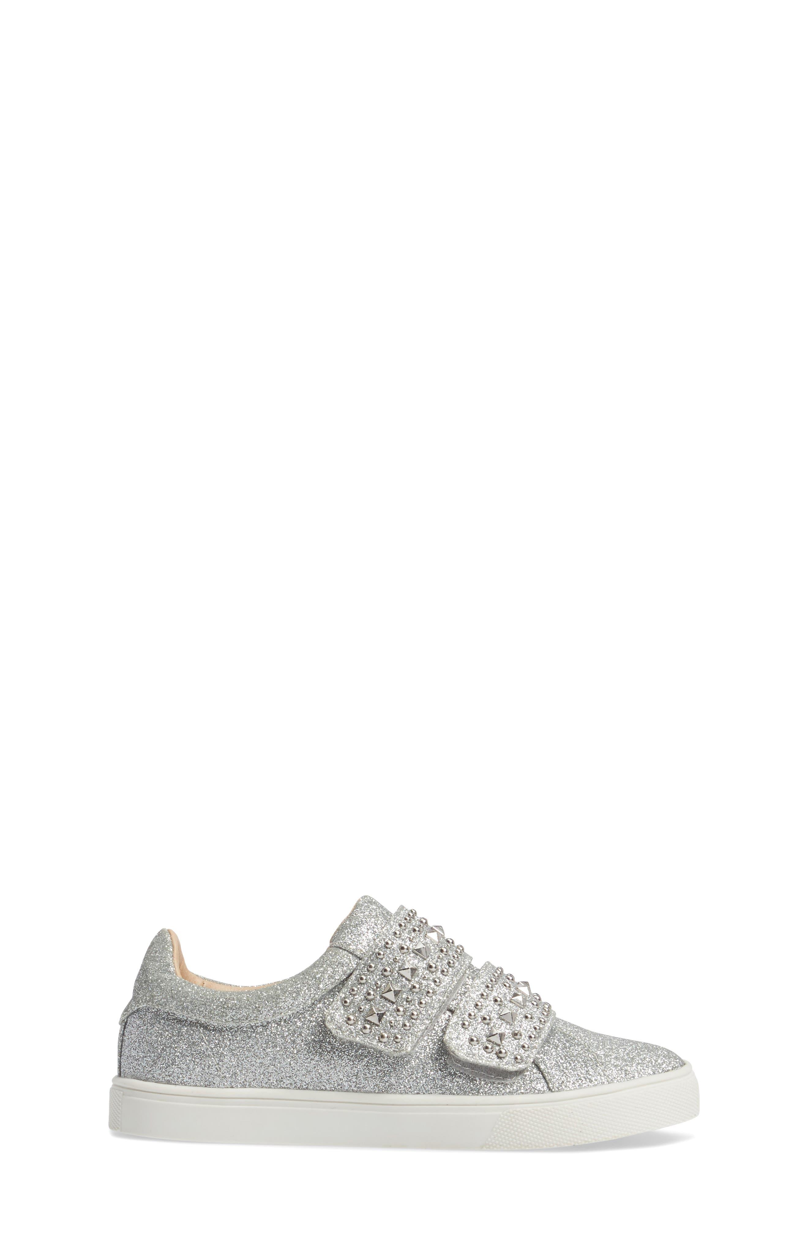 Baylen Embellished Glitter Sneaker,                             Alternate thumbnail 3, color,                             SILVER GLITTER