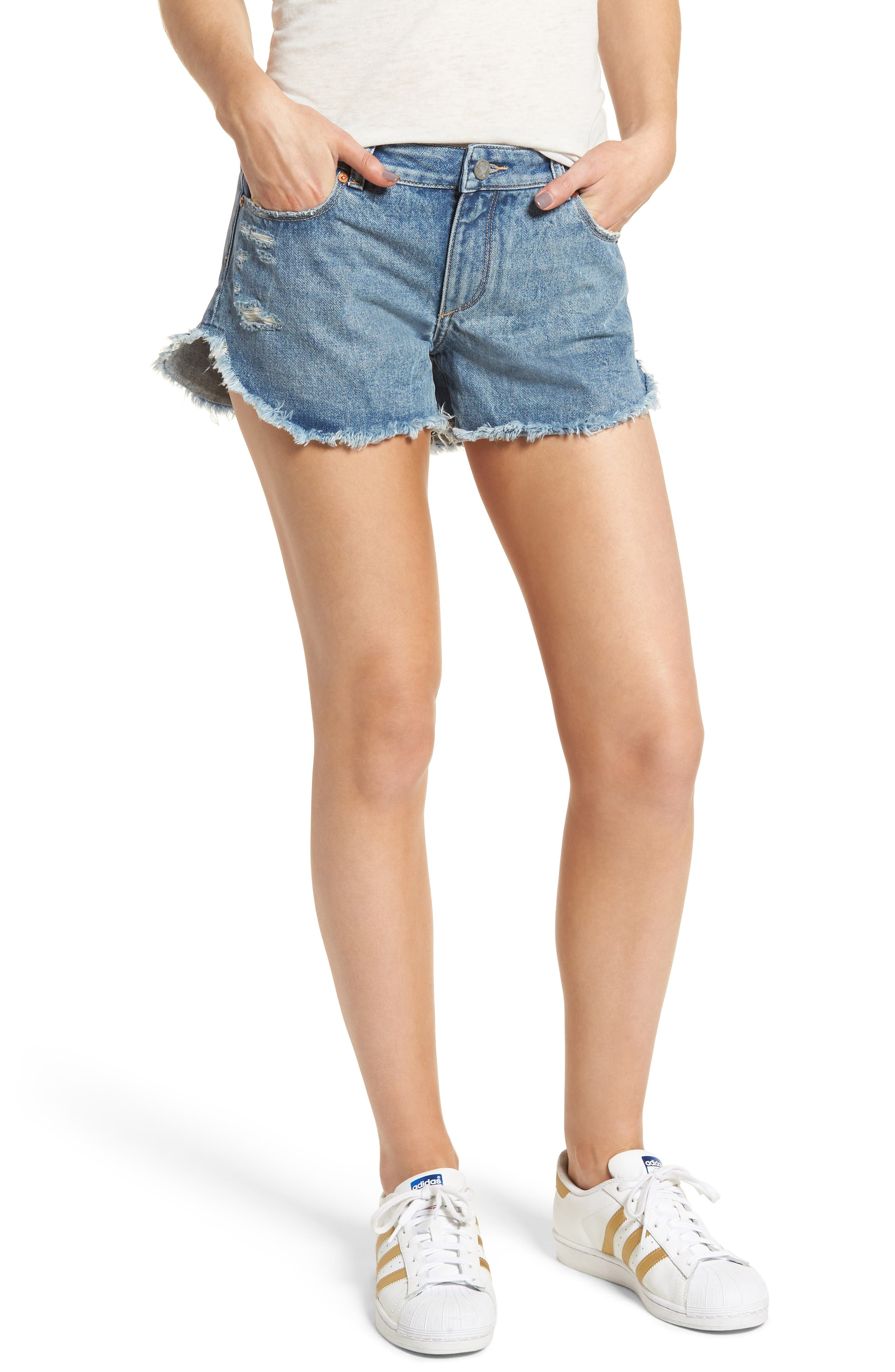 Renee Dolphin Hem Denim Shorts,                         Main,                         color, GOLD COAST