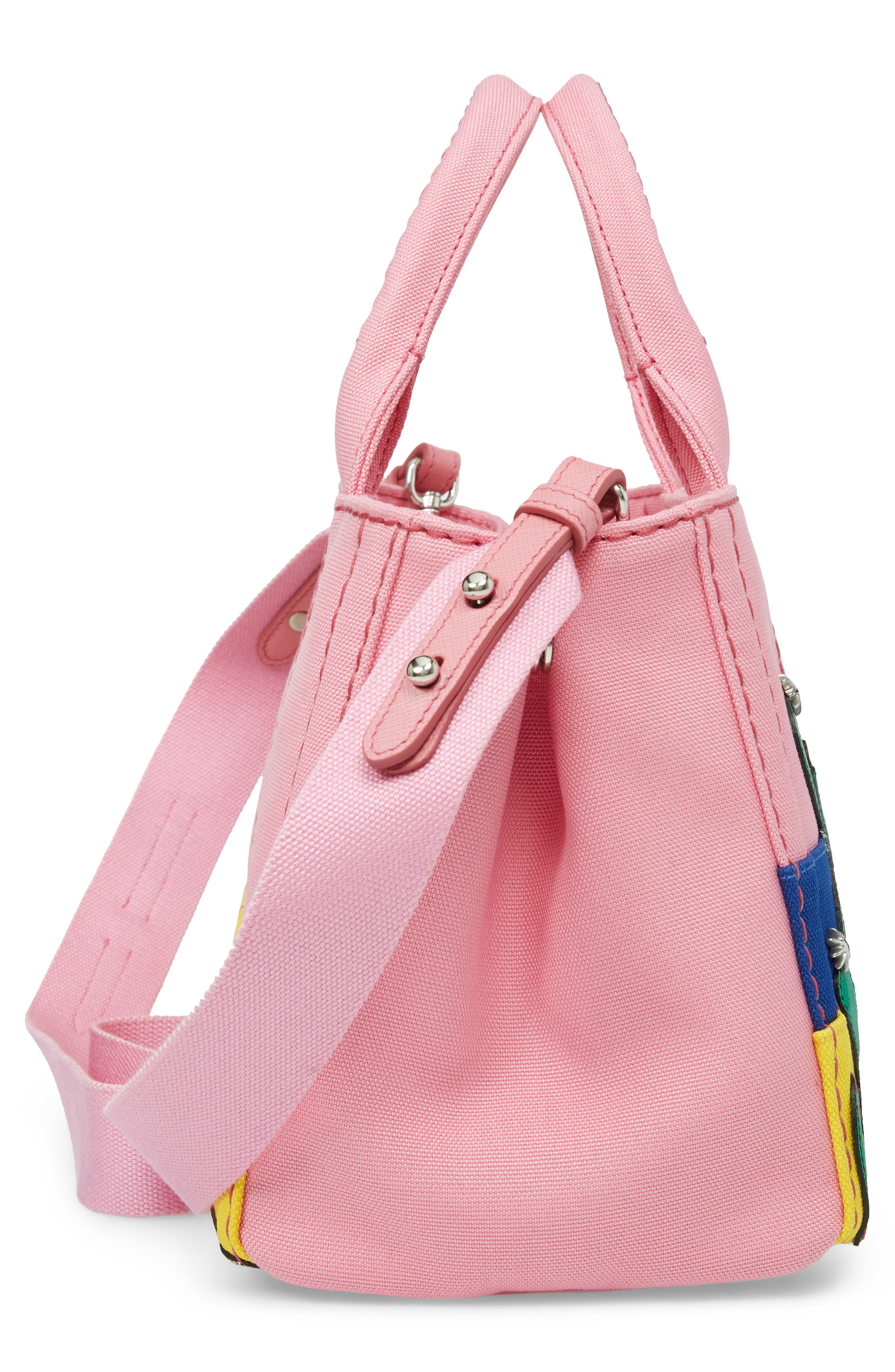Desert Motif Patch Leather & Canvas Tote,                             Alternate thumbnail 5, color,                             PINK