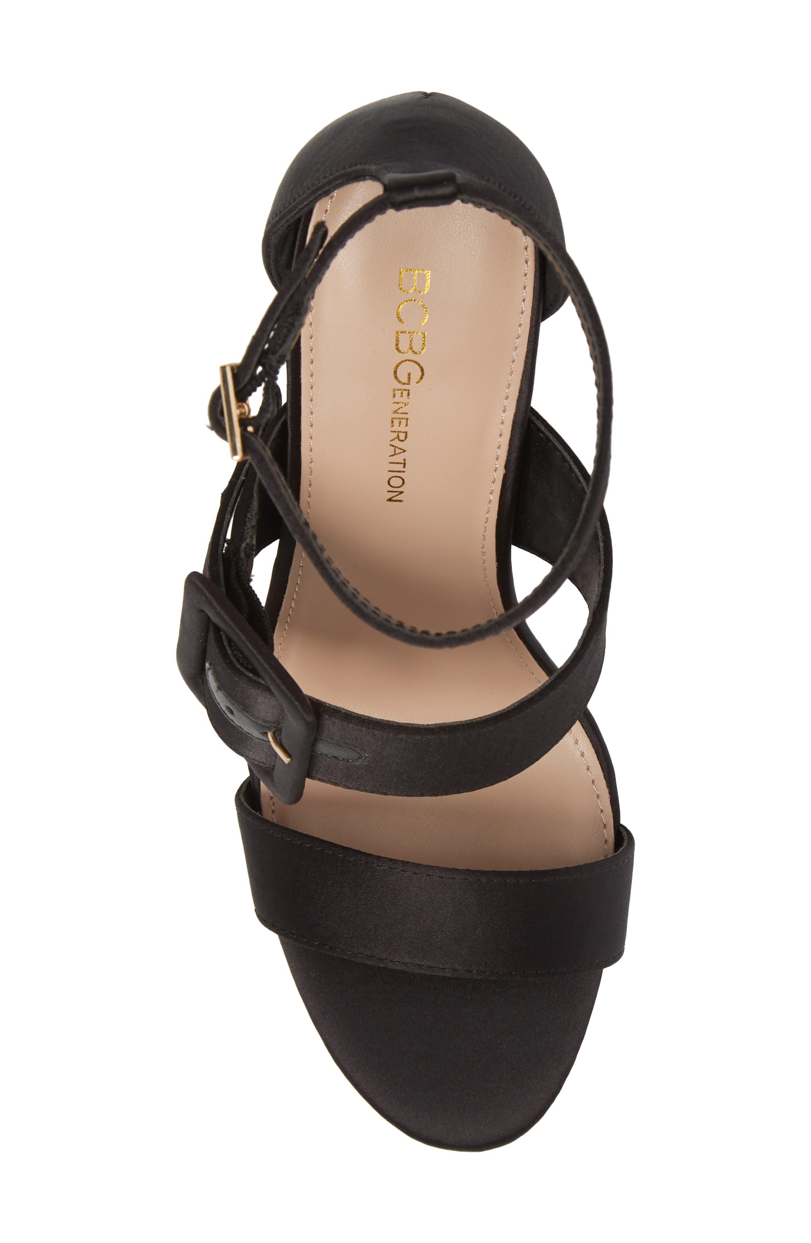 Raelynn Ankle Strap Sandal,                             Alternate thumbnail 5, color,                             BLACK SATIN
