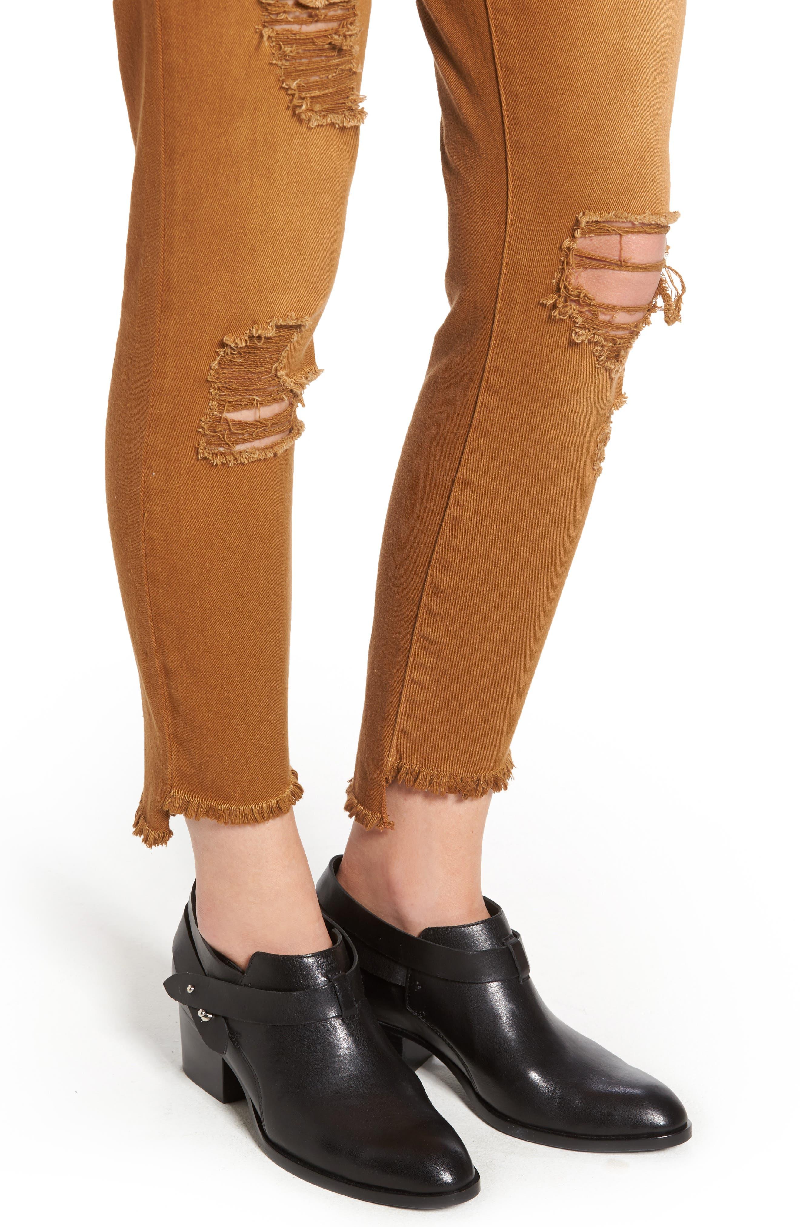 Step Hem Skinny Jeans,                             Alternate thumbnail 4, color,                             600