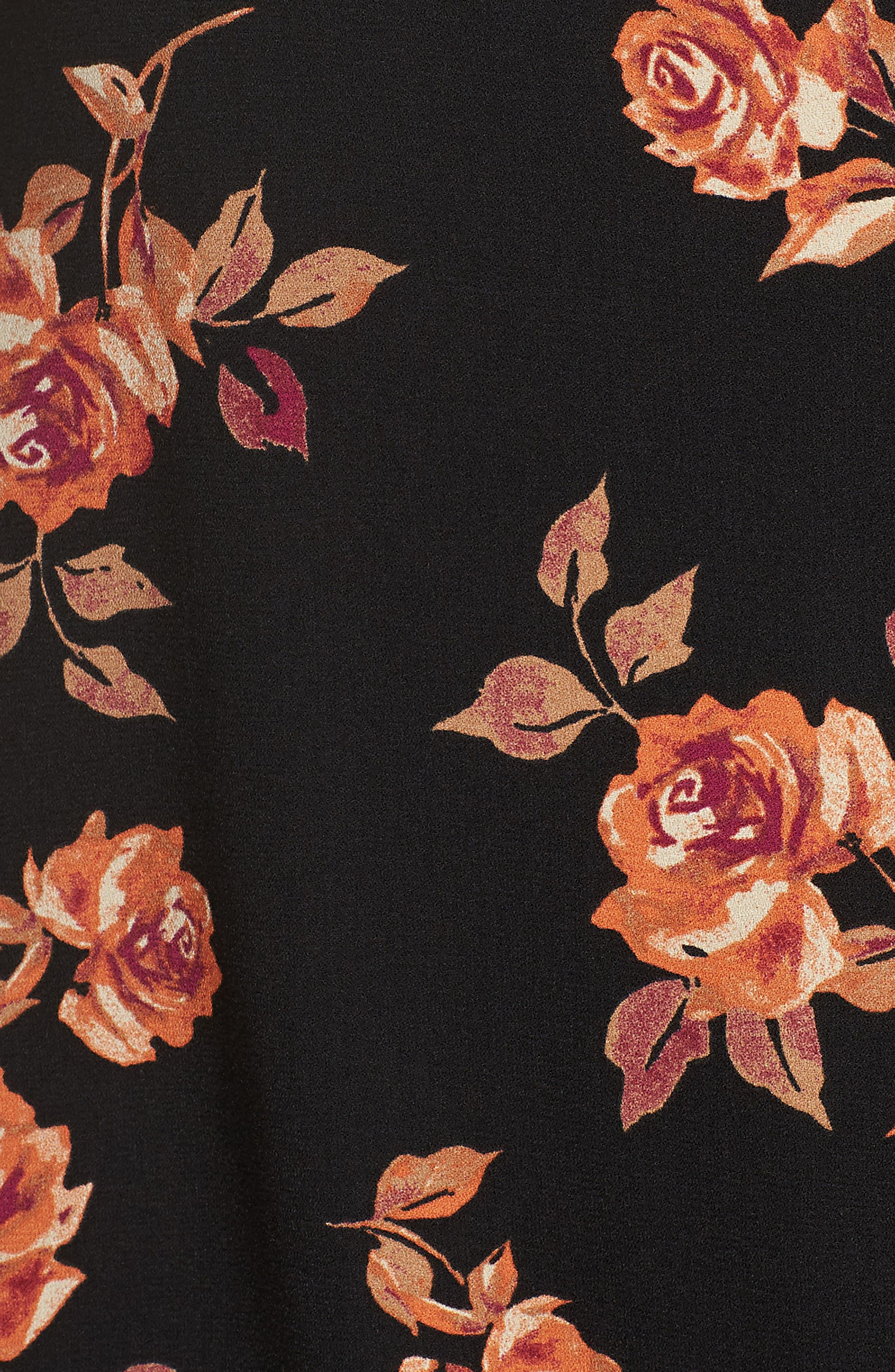 Notched Collar Floral Print Shirt,                             Alternate thumbnail 5, color,                             BLACK POP FLORAL