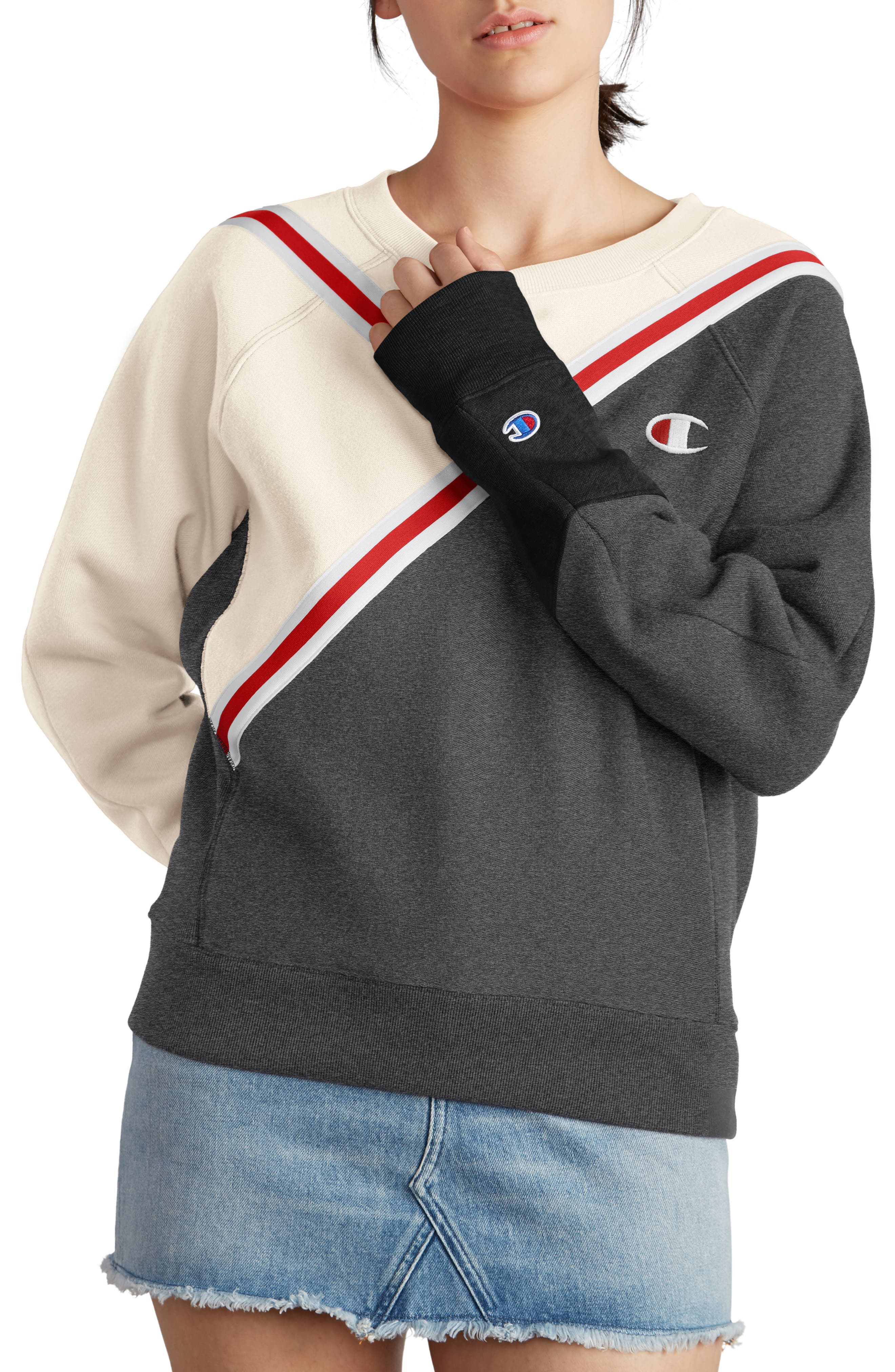 Colorblock Reverse Fleece Sweatshirt,                             Main thumbnail 1, color,                             QUARTZ CRM/GRANITE/BLACK