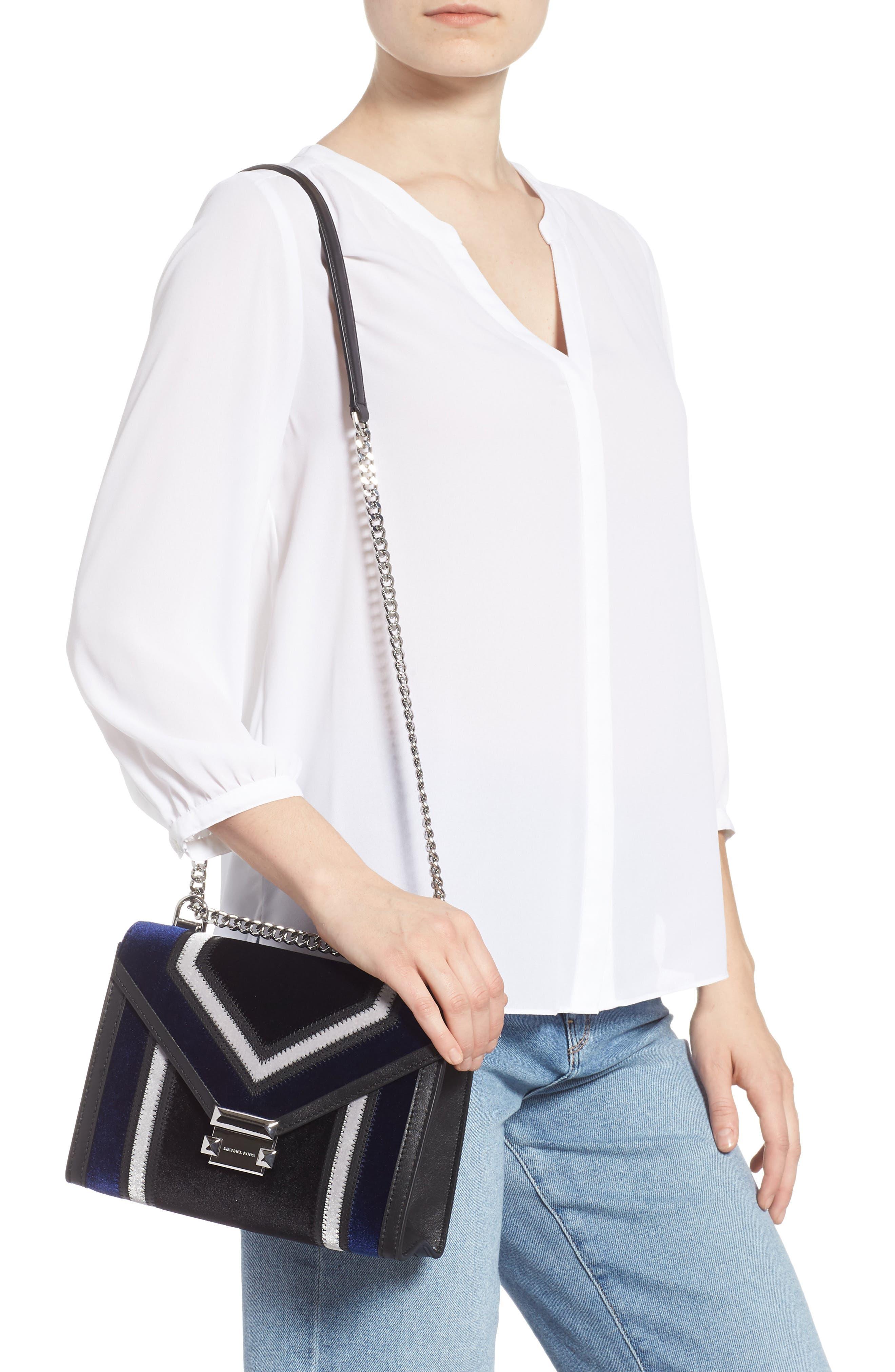 Large Velvet Shoulder Bag,                             Alternate thumbnail 2, color,                             BLACK/ DARK BLUE