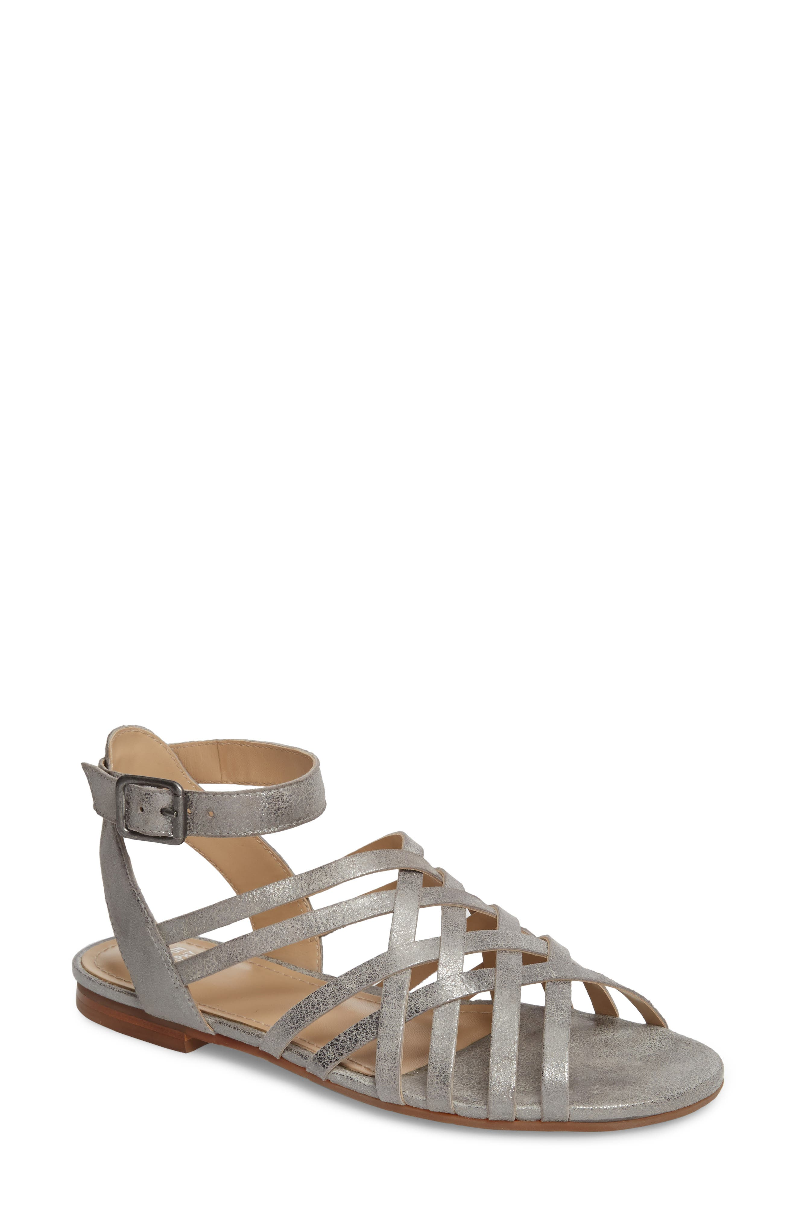 Hallie Sandal,                             Main thumbnail 1, color,                             PEWTER LEATHER