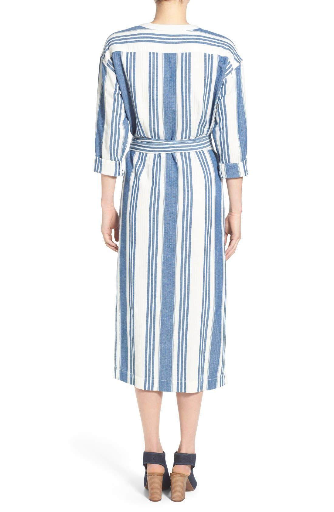 'Linn Stripe' Wrap Midi Dress,                             Alternate thumbnail 4, color,                             400