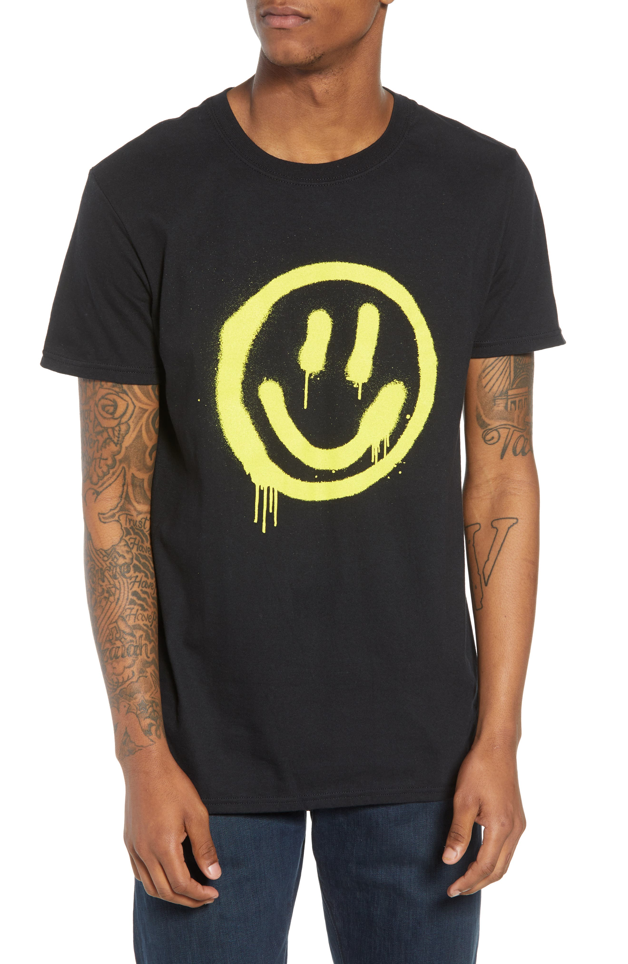 Smiley Stencil T-Shirt,                         Main,                         color,