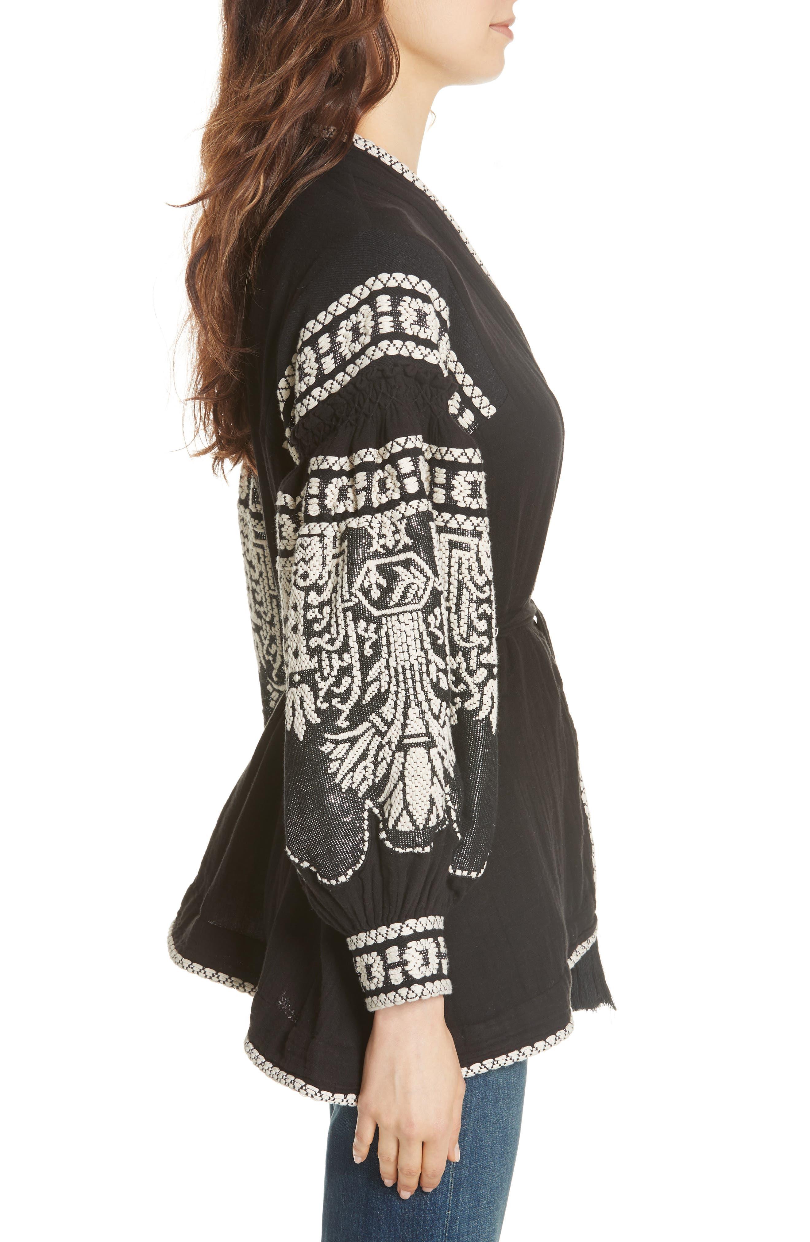 Petrushka Embroidered Jacket,                             Alternate thumbnail 3, color,                             BLACK