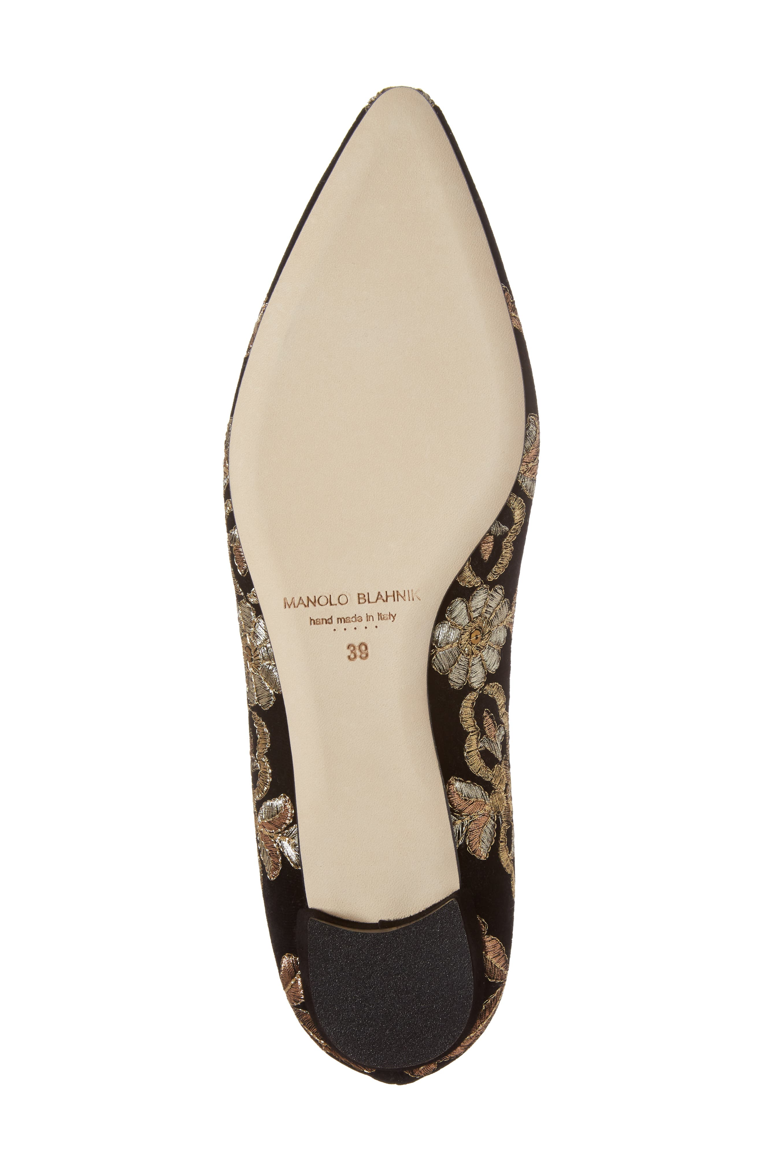 Tittermo Floral Embroidered Ballet Flat,                             Alternate thumbnail 6, color,                             001