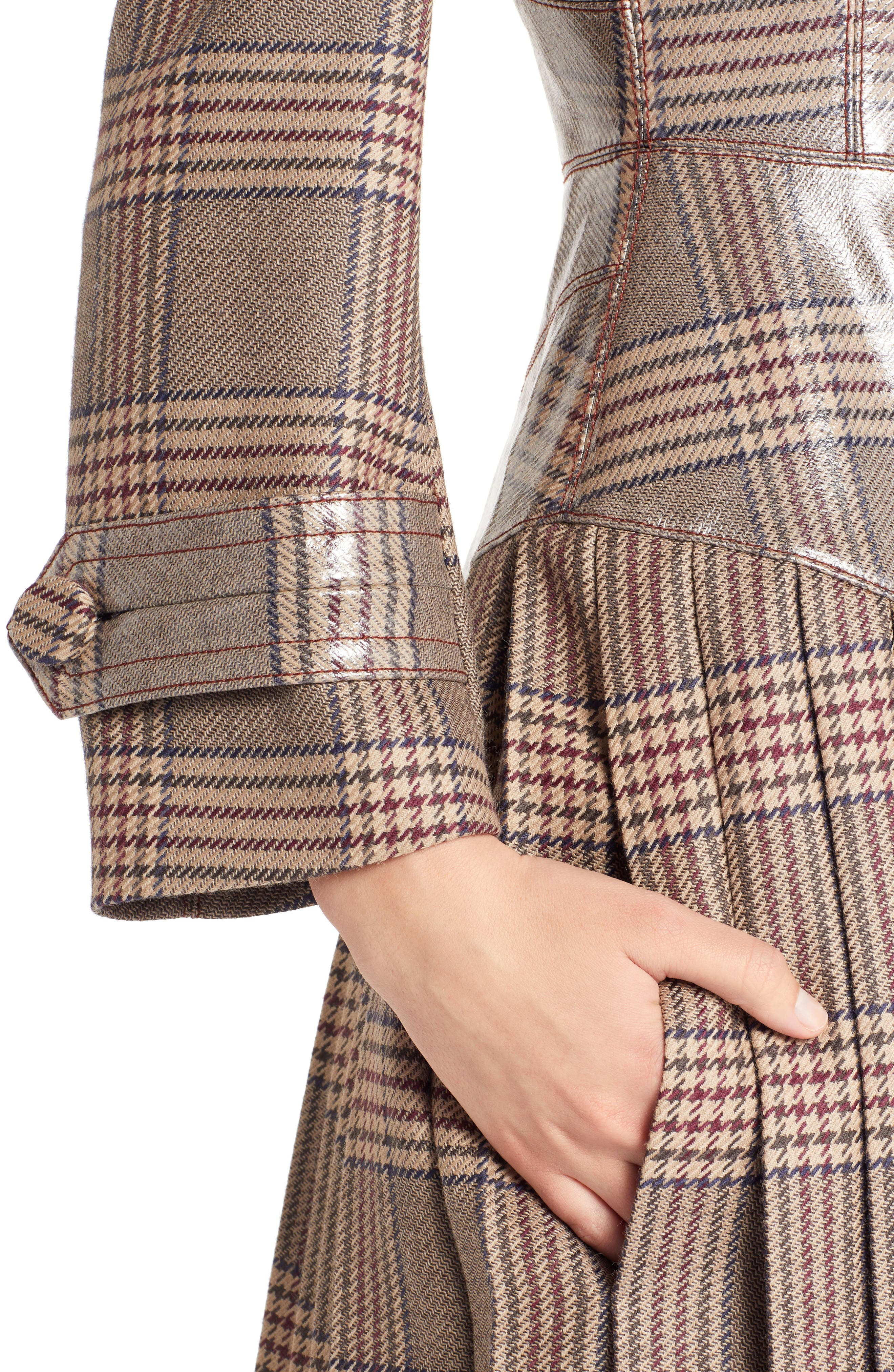 Checked Glazed Wool Trench Coat,                             Alternate thumbnail 4, color,                             024