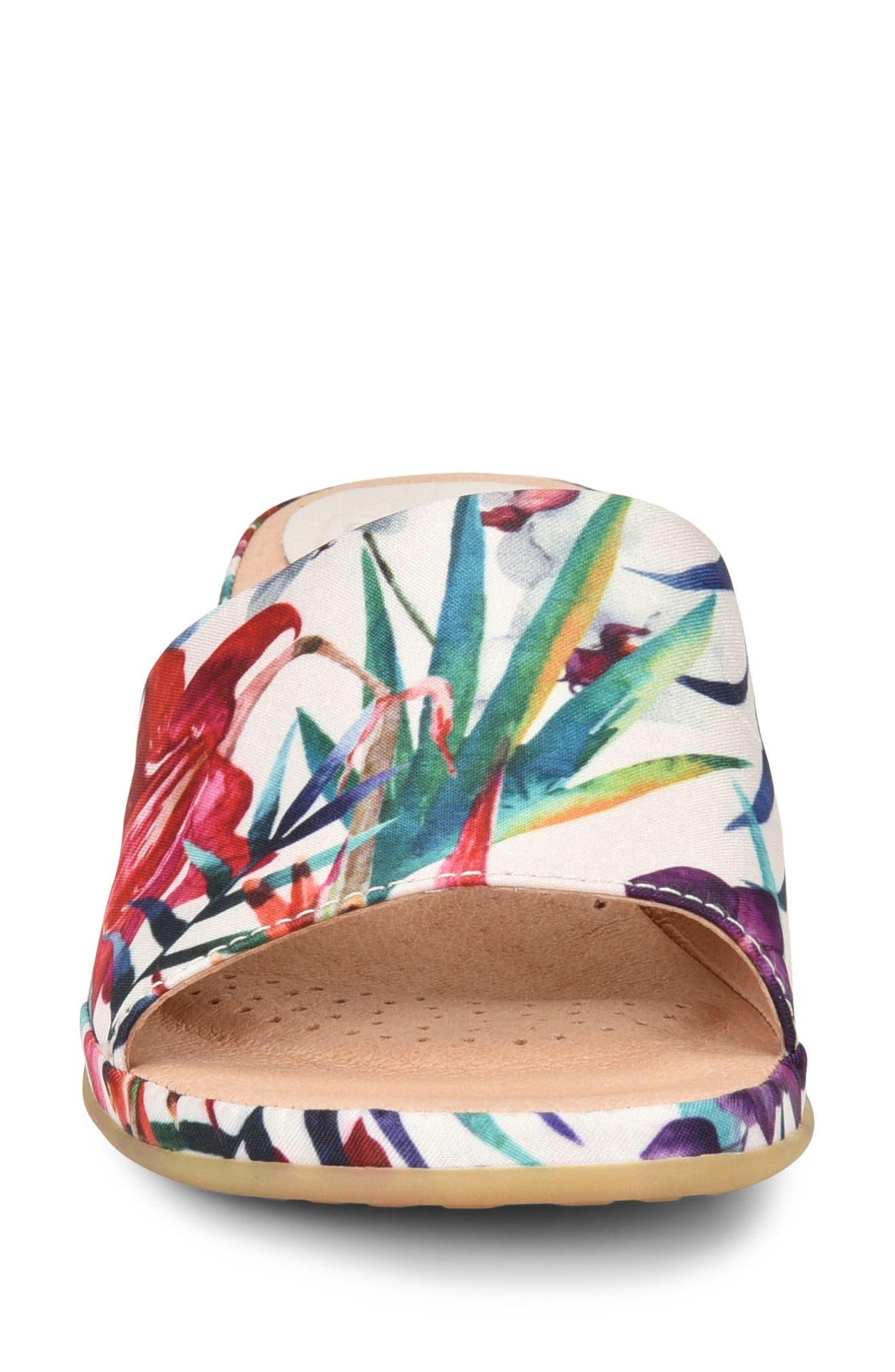 Bo Block Heel Slide Sandal,                             Alternate thumbnail 4, color,                             WHITE FABRIC