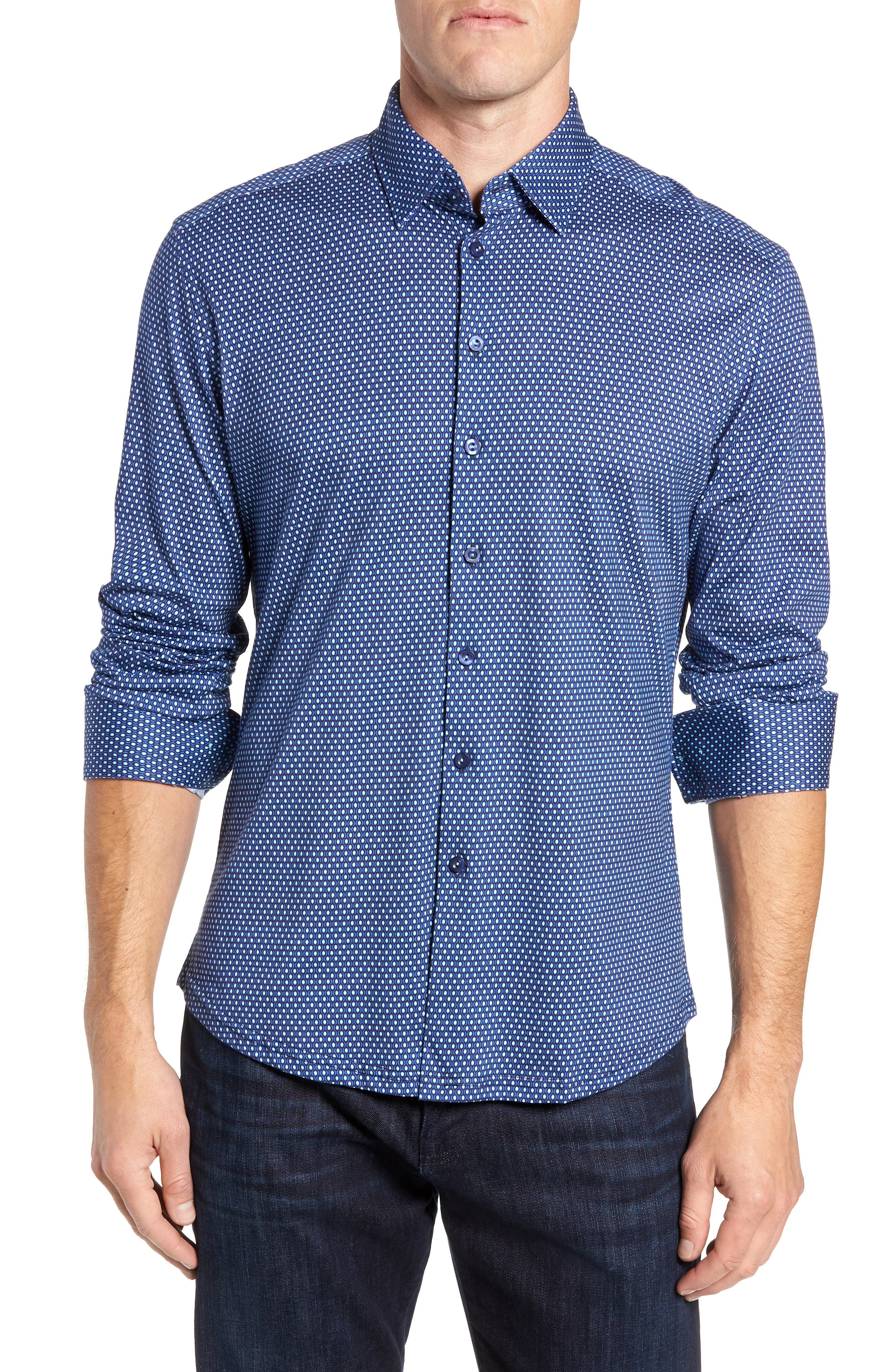 Trim Fit Sport Shirt,                             Main thumbnail 1, color,                             NAVY