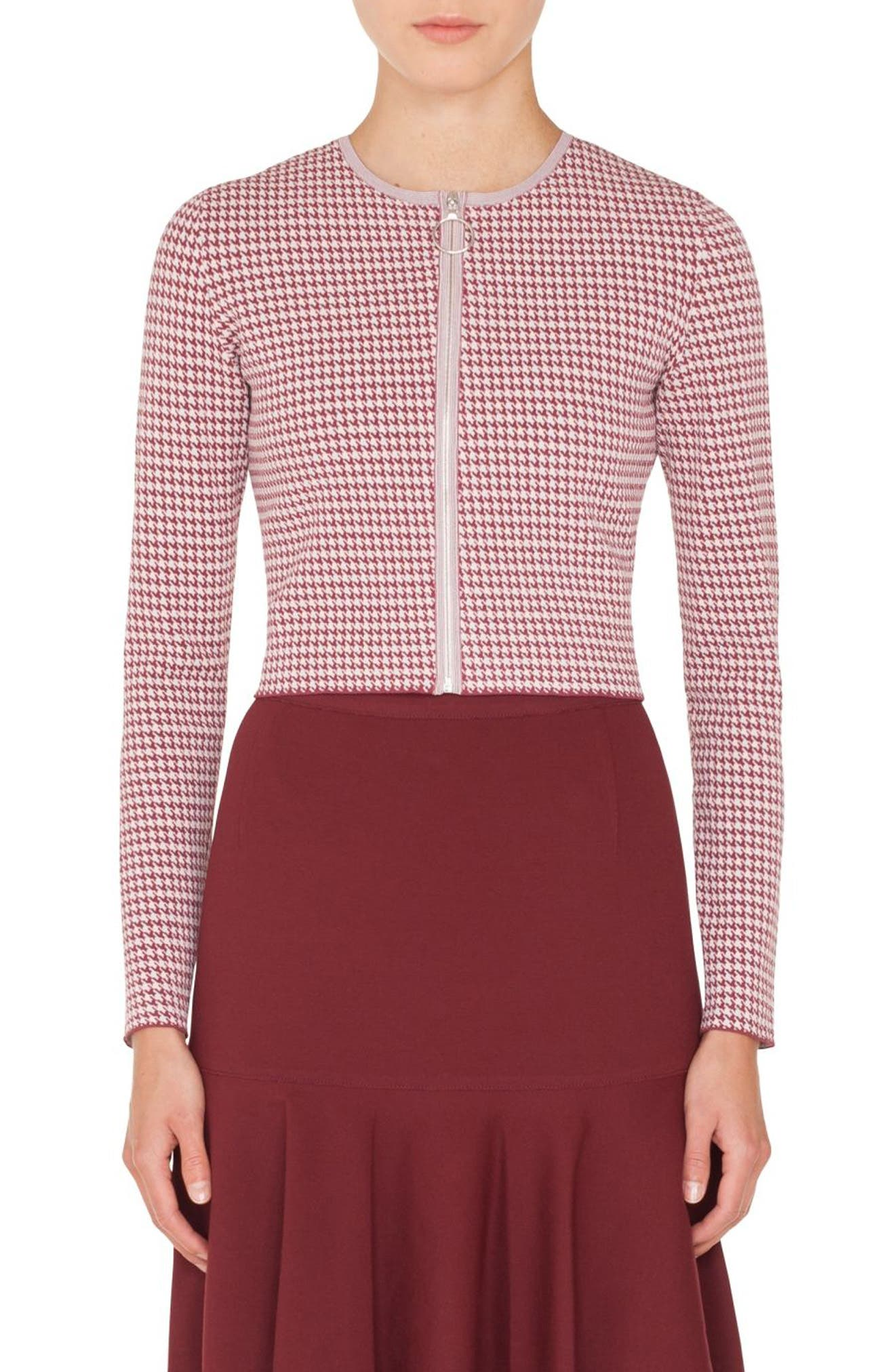 AKRIS PUNTO Zip-Front Houndstooth-Knit Bolero Jacket in Blush Rose/ Burgundy
