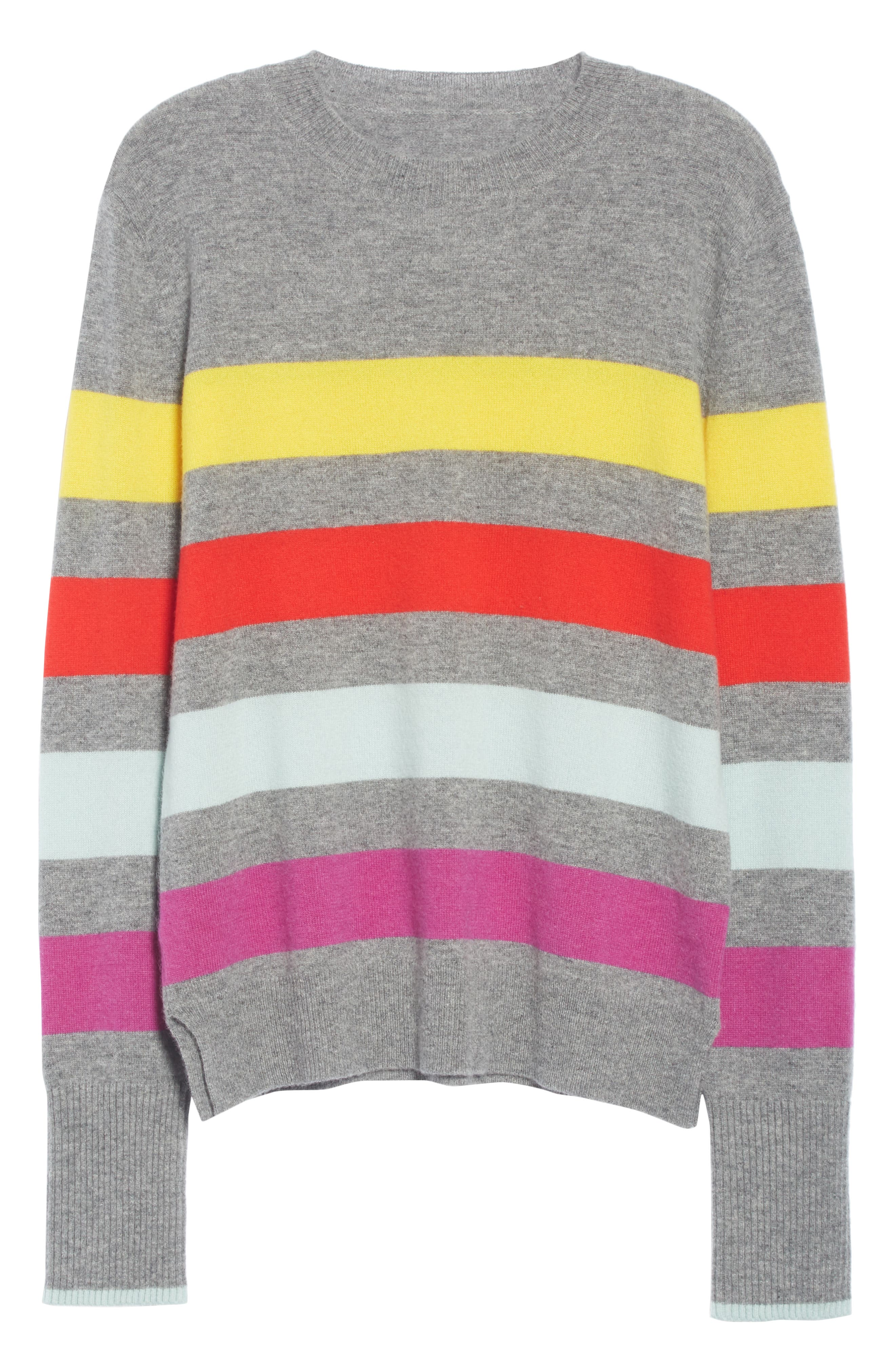 Candy Stripe Sweater,                             Alternate thumbnail 6, color,                             GREY MARLE/ RAINBOW
