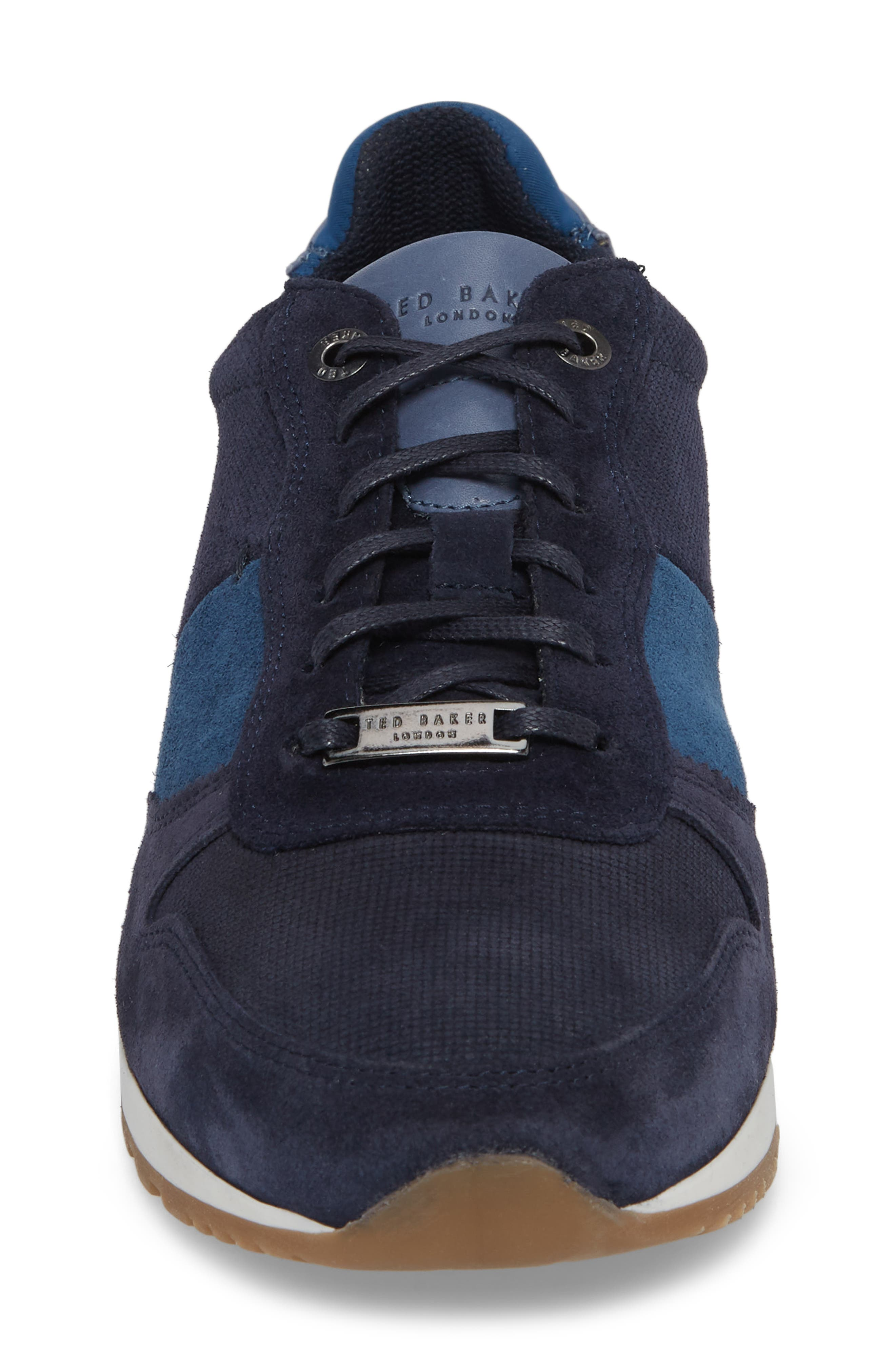 Shindls Low Top Sneaker,                             Alternate thumbnail 4, color,                             BLUE LEATHER/ SUEDE