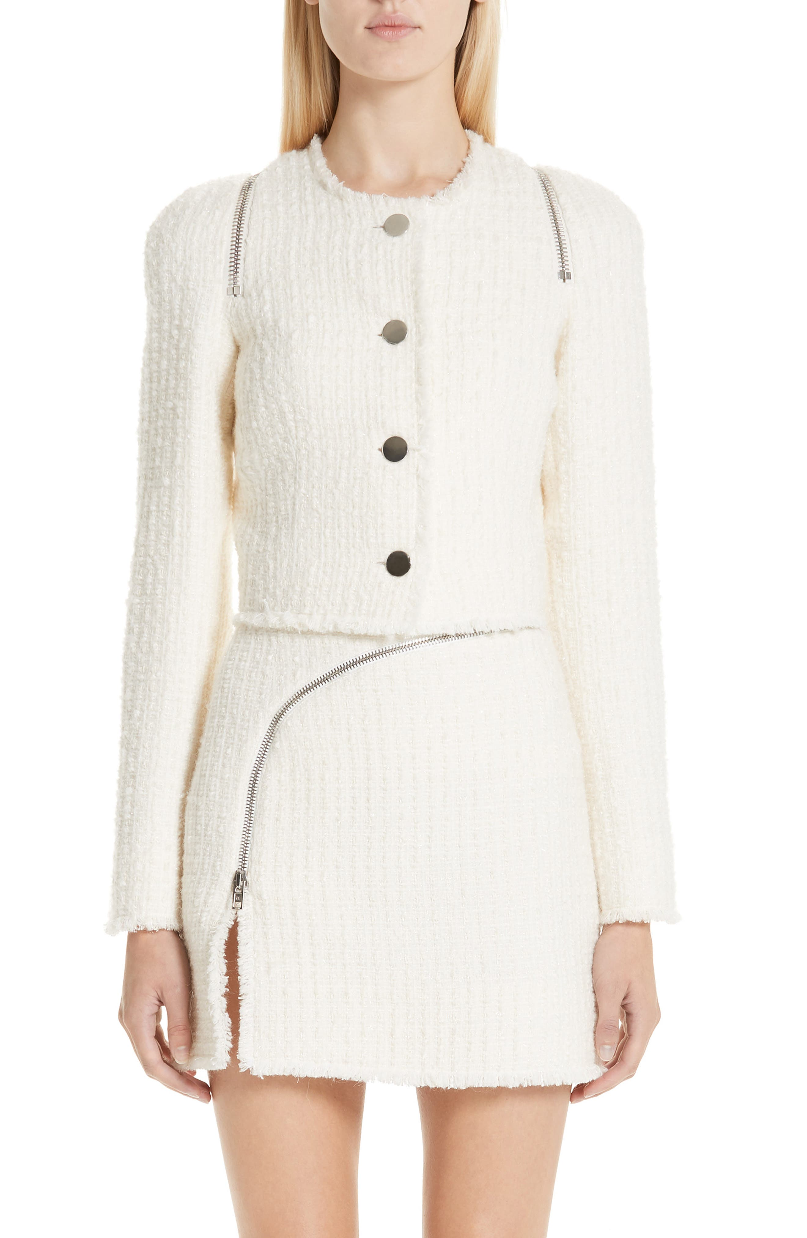 ALEXANDER WANG,                             Zip Detail Tweed Jacket,                             Main thumbnail 1, color,                             IVORY