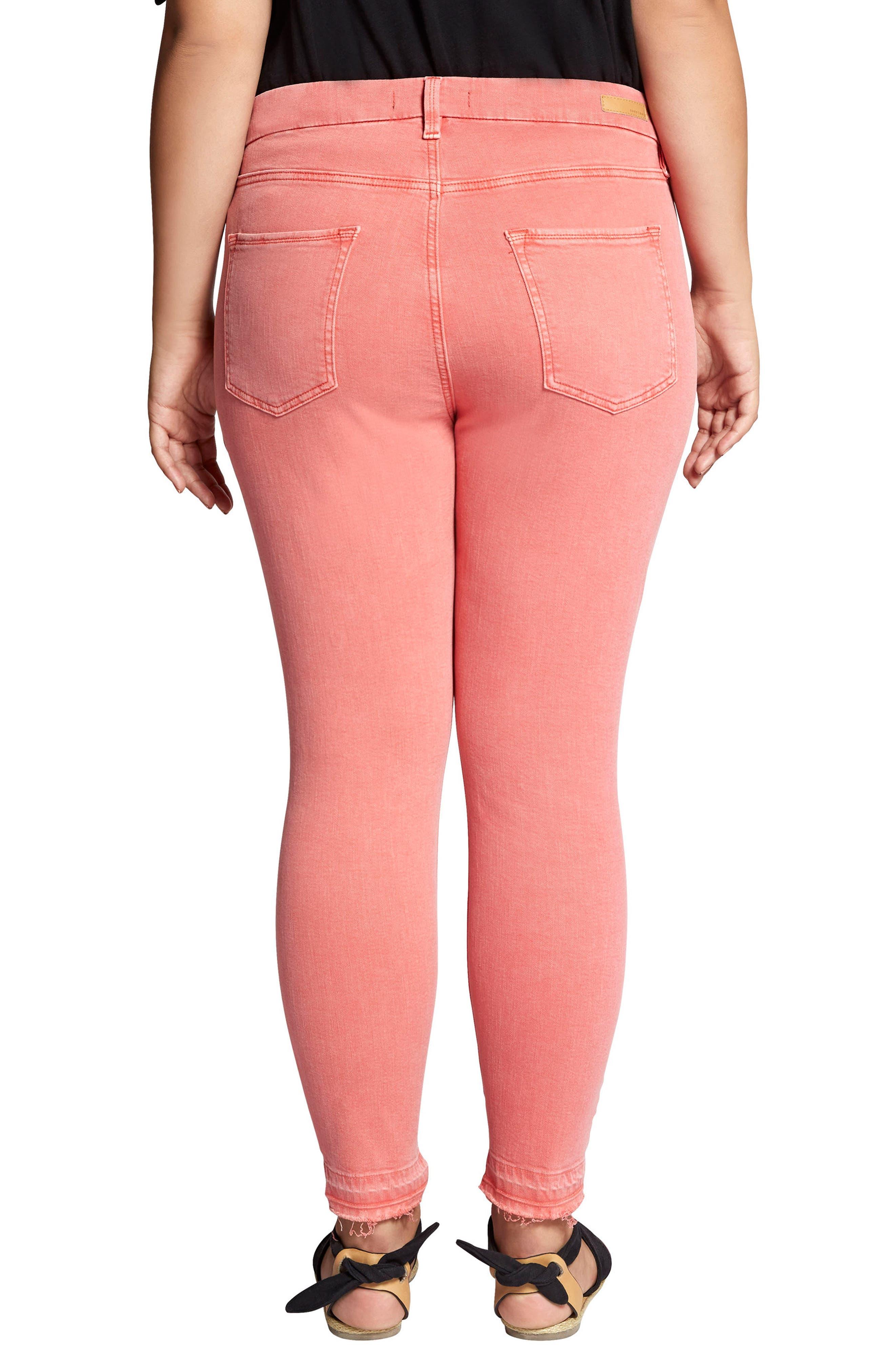 Saige Release Hem Curvy Fit Skinny Jeans,                             Alternate thumbnail 2, color,                             CHILI WASH