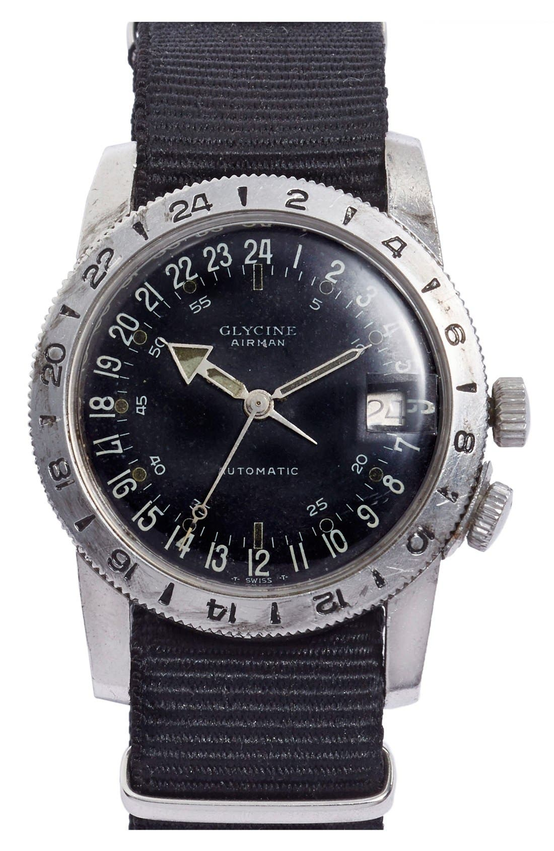 FOOTHILLS CA,                             'Glycine Airman' Vintage Vietnam Pilot's Watch, 37mm,                             Main thumbnail 1, color,                             001