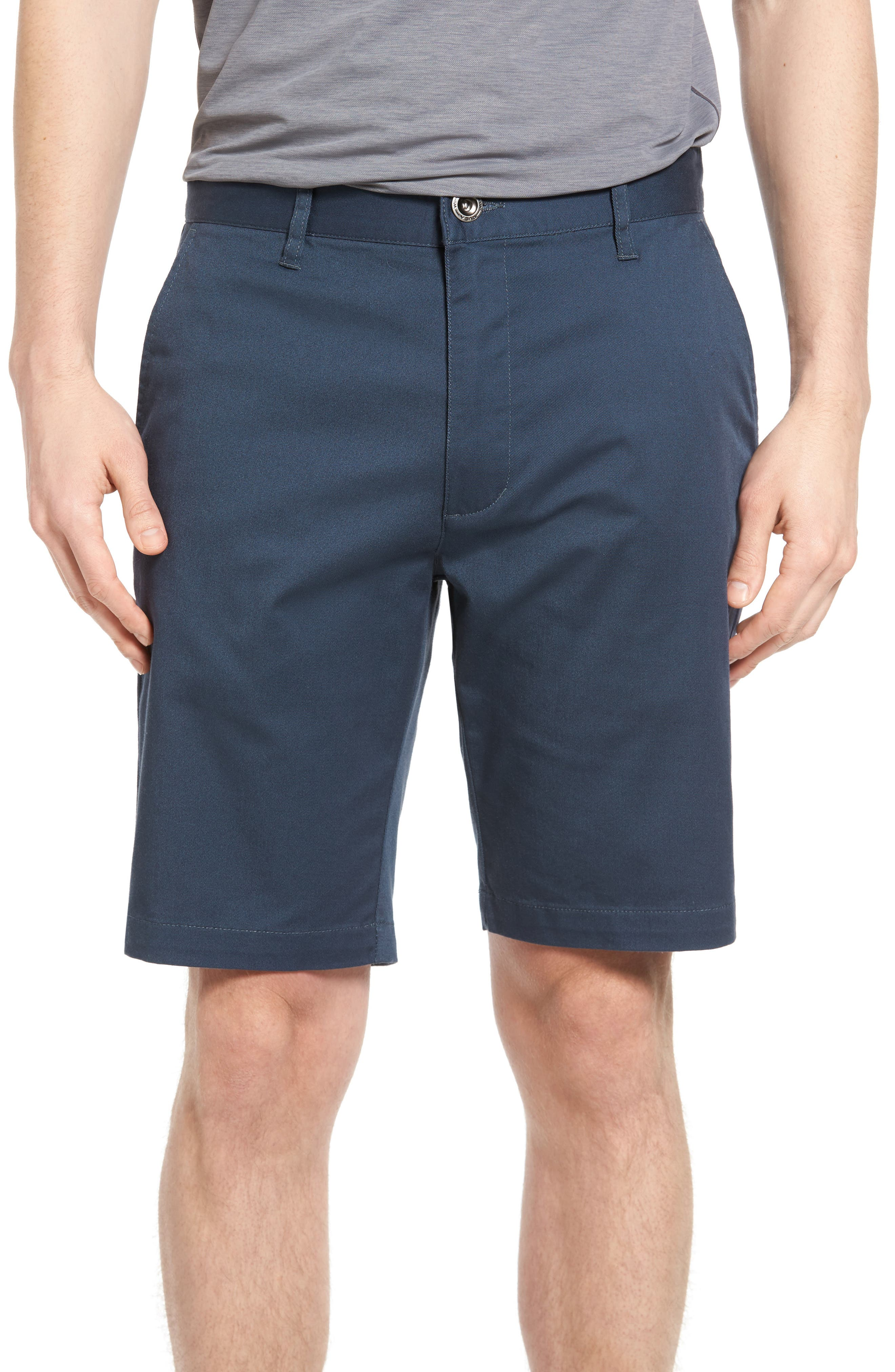 The Week-End Stretch Twill Chino Shorts,                             Main thumbnail 1, color,                             SMOKE