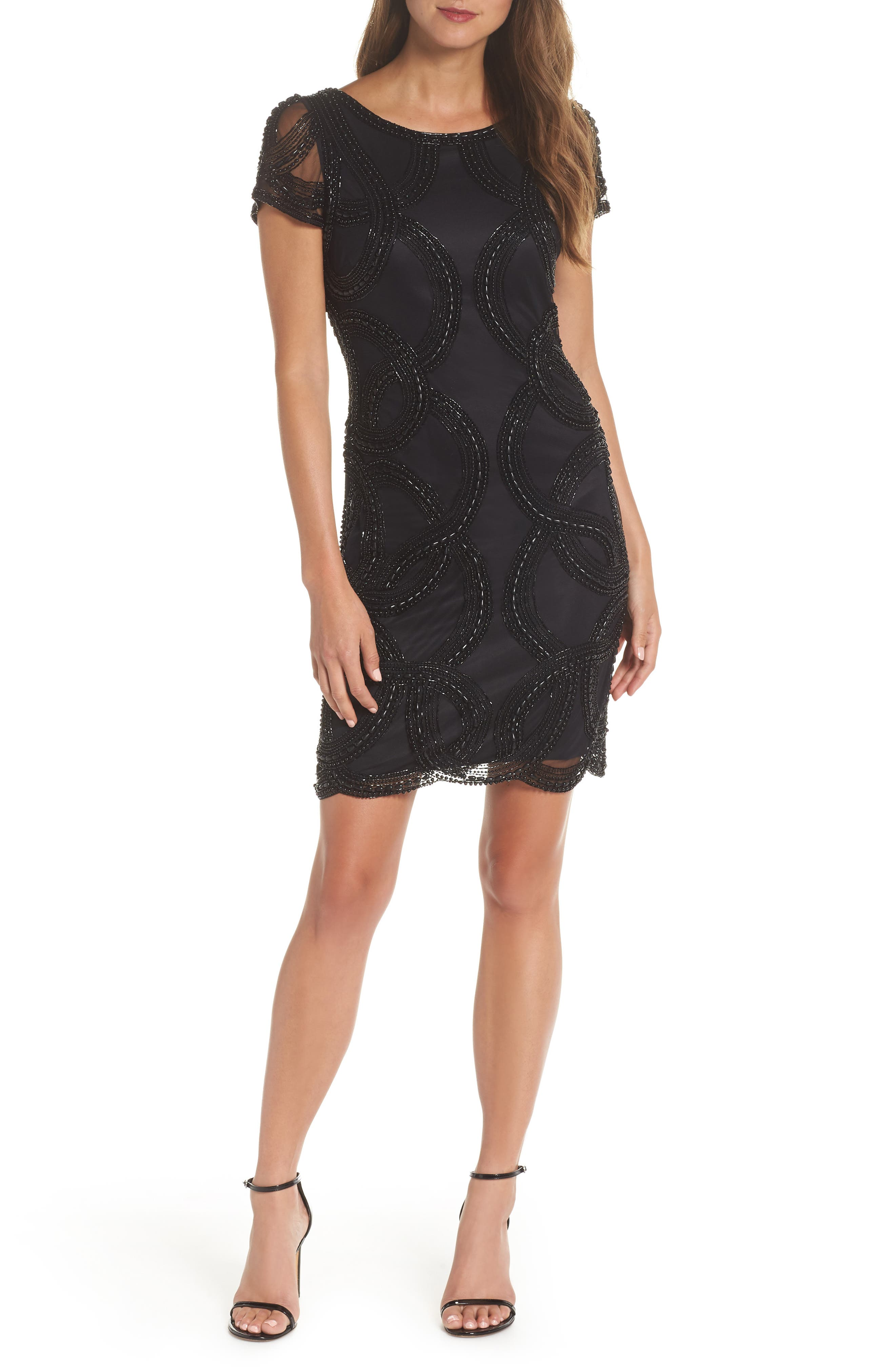 Beaded Swirls Cocktail Dress,                         Main,                         color, BLACK