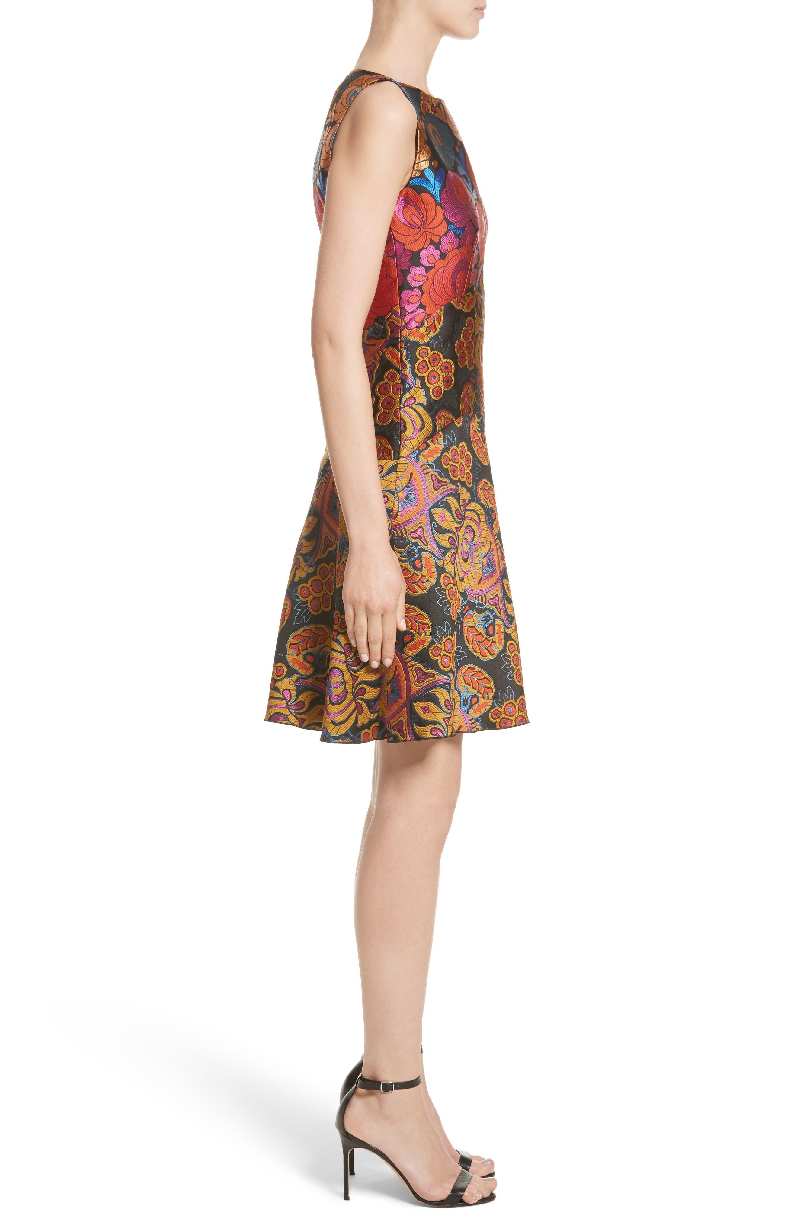 Sleeveless Brocade Dress,                             Alternate thumbnail 3, color,                             001