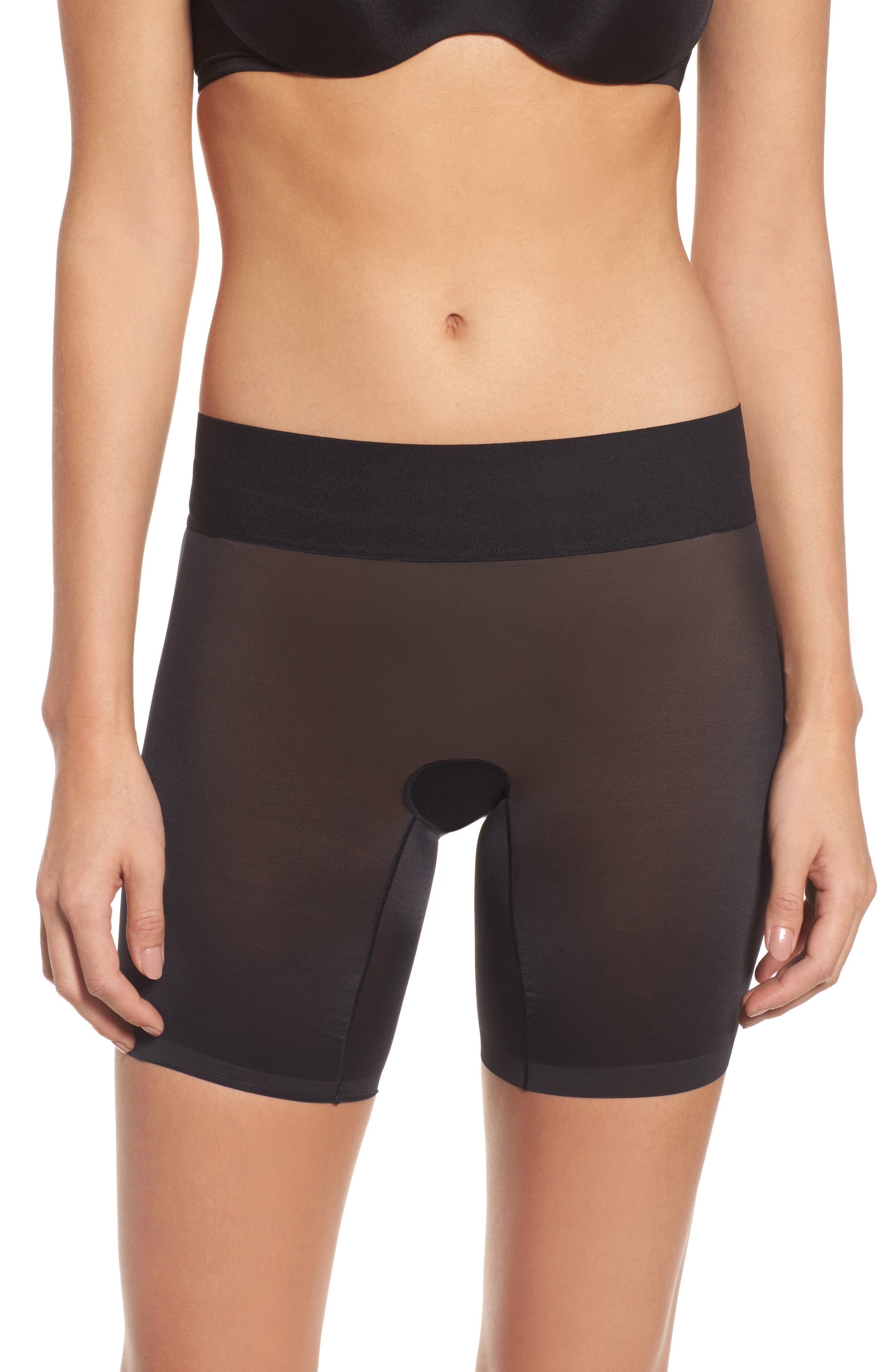 Sheer Touch Control Shorts,                         Main,                         color, BLACK