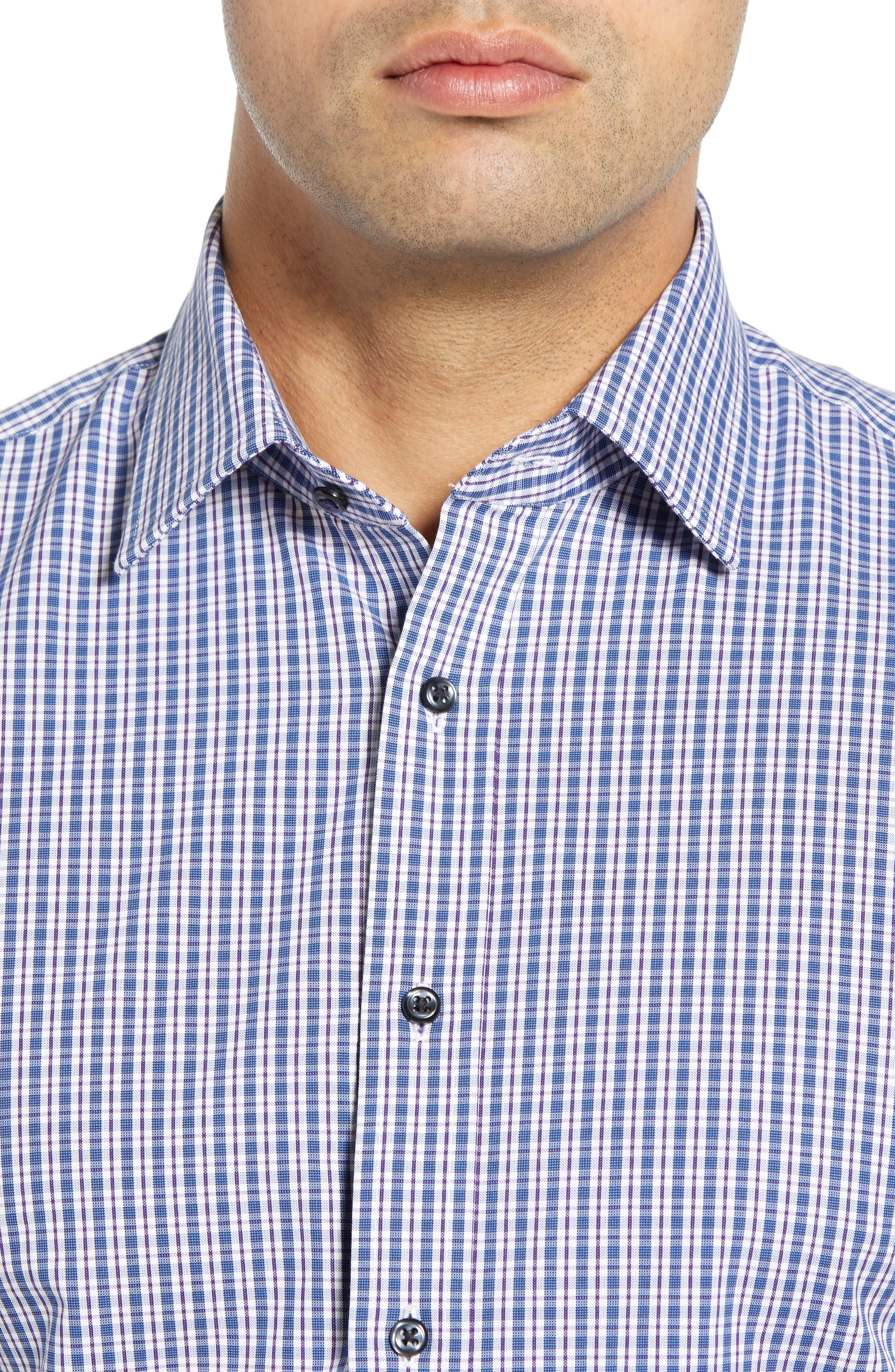 Tech-Smart Traditional Fit Plaid Stretch Dress Shirt,                             Alternate thumbnail 2, color,                             NAVY DUSK