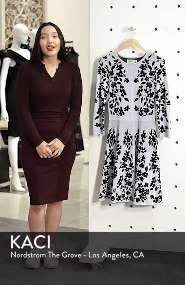 Floral Fit & Flare Sweater Dress, sales video thumbnail