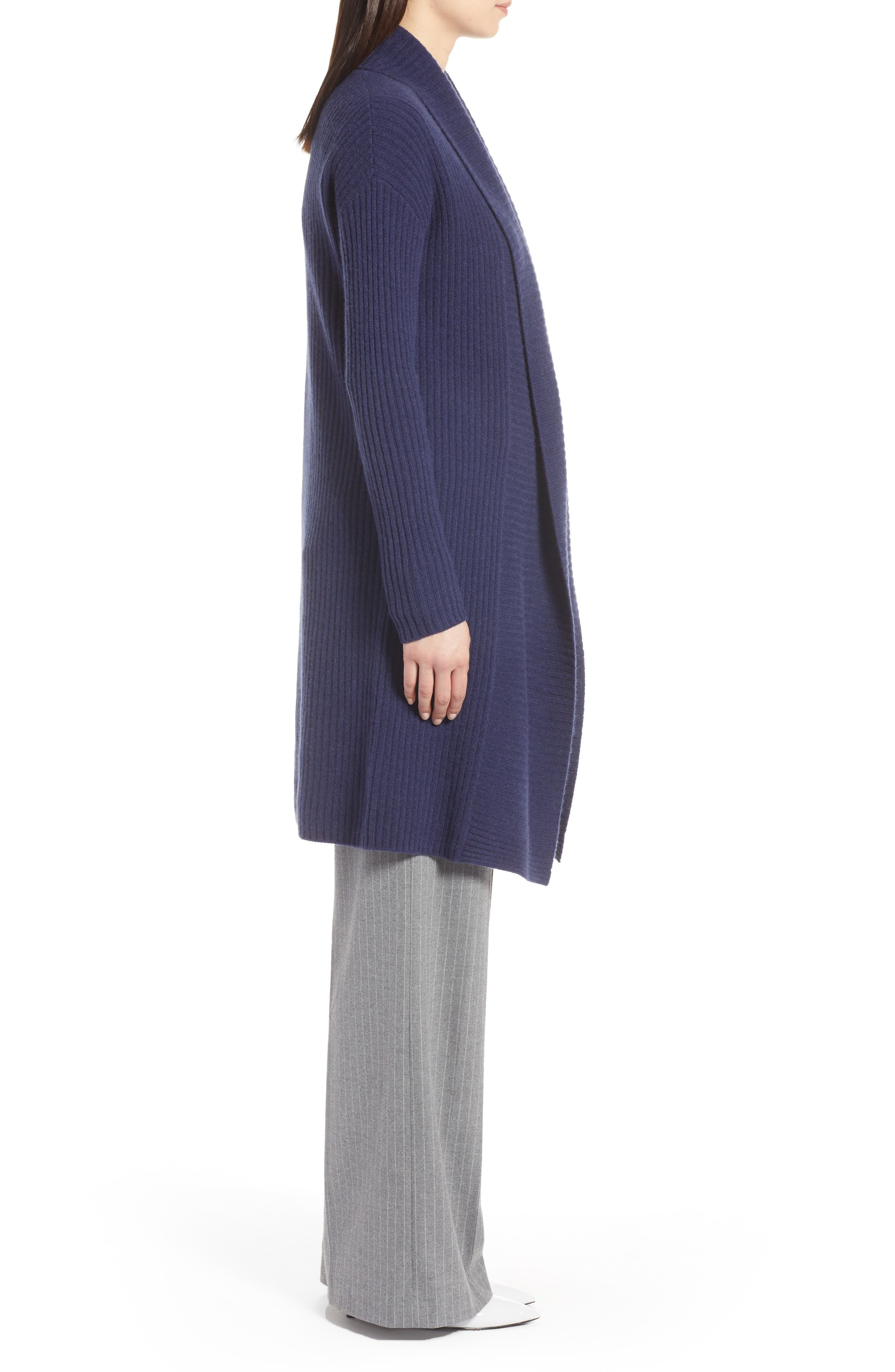 Long Ribbed Cashmere Cardigan,                             Alternate thumbnail 3, color,                             410