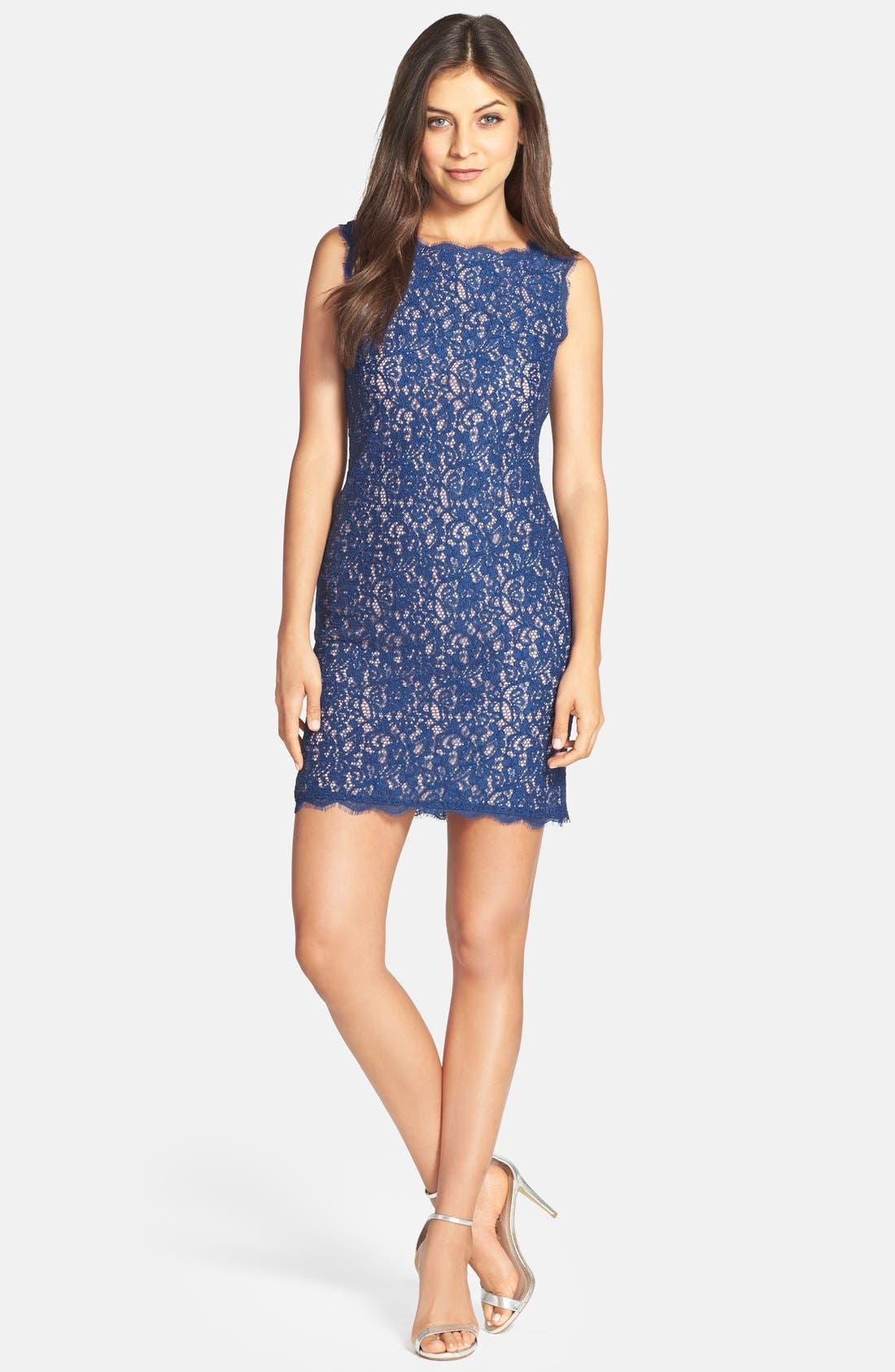 Boatneck Lace Sheath Dress,                             Alternate thumbnail 166, color,