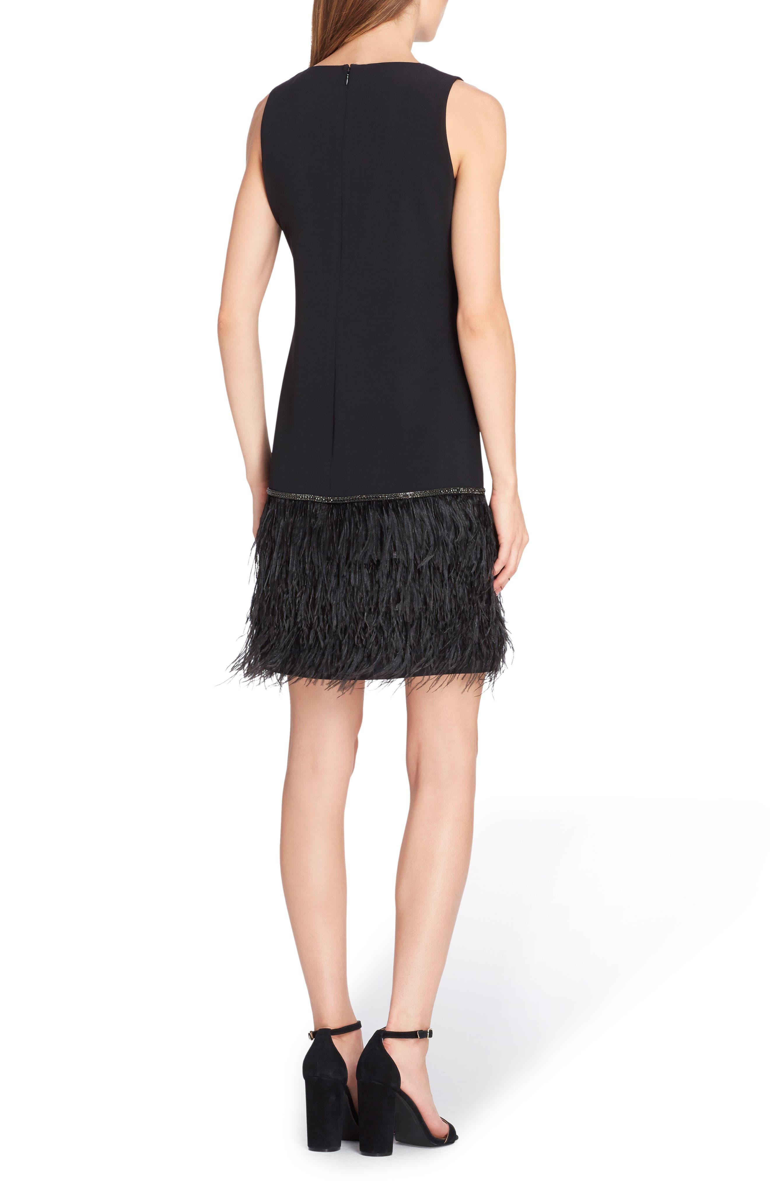 Crystal Feather Hem Shift Dress,                             Alternate thumbnail 2, color,                             BLACK