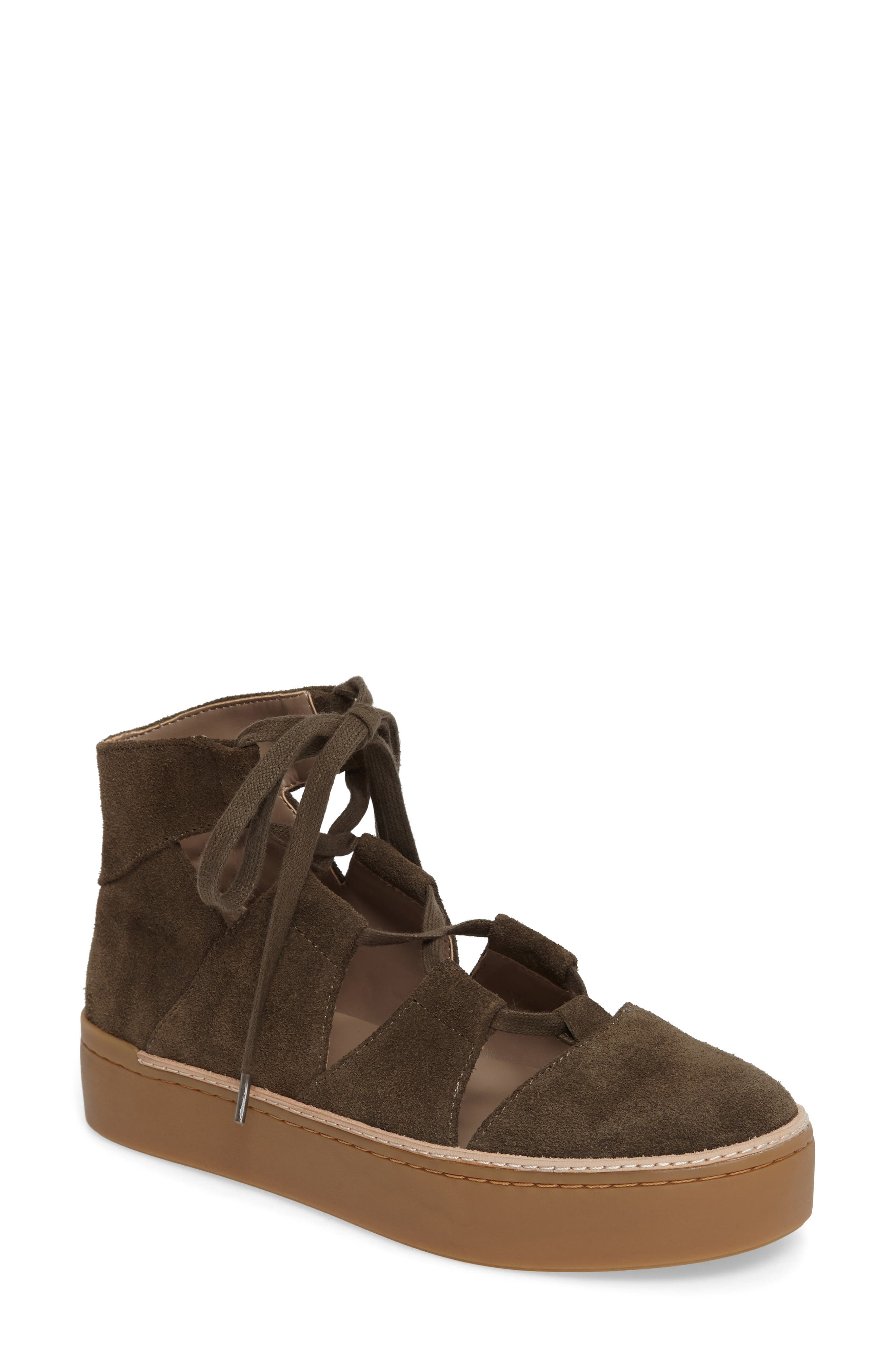 M4D3 Savanah Ghillie Platform Sneaker,                             Main thumbnail 1, color,                             DEEP TAUPE LEATHER