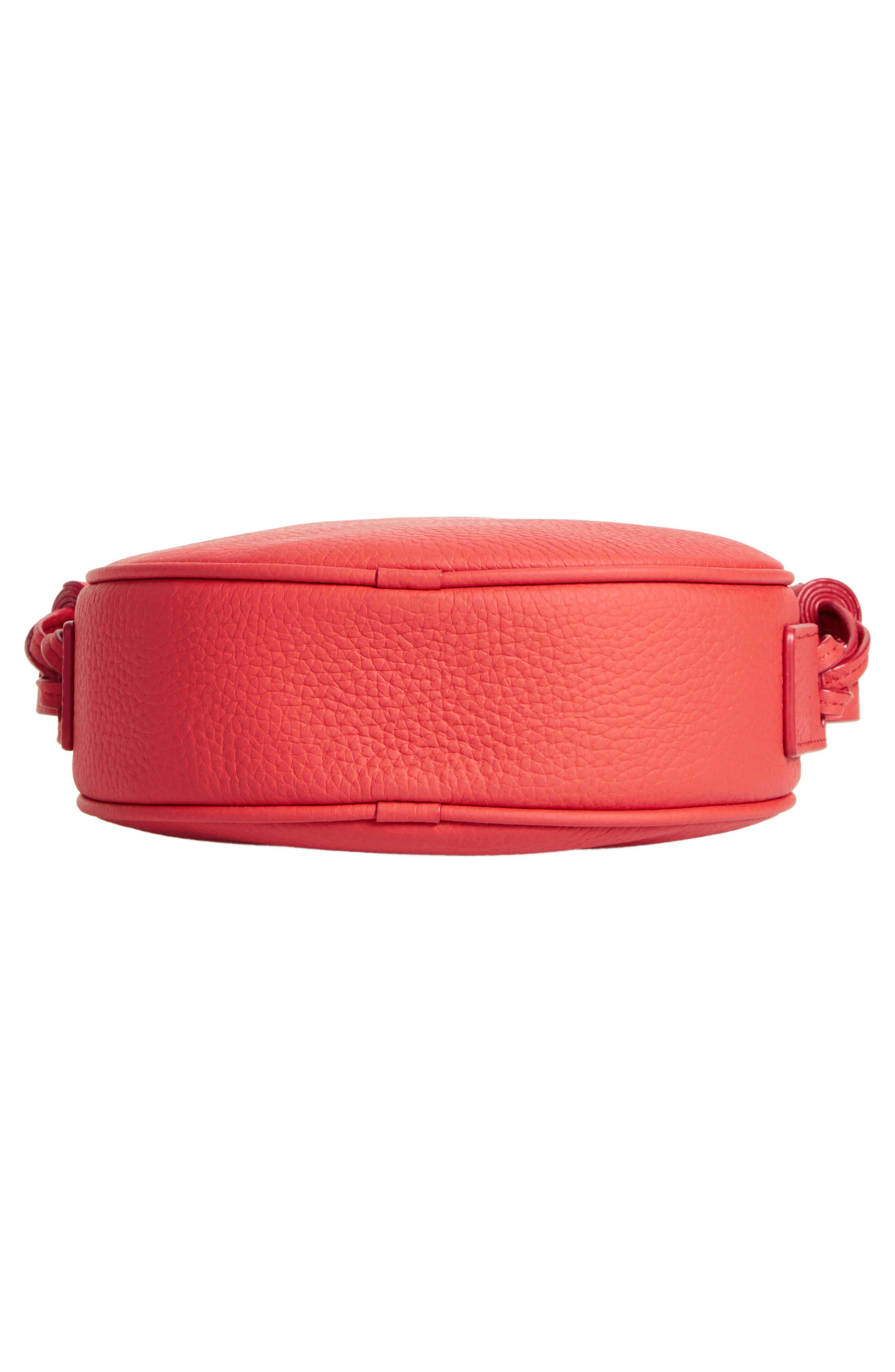 Kepi Circle Leather Crossbody Bag,                             Alternate thumbnail 6, color,                             CORAL RED