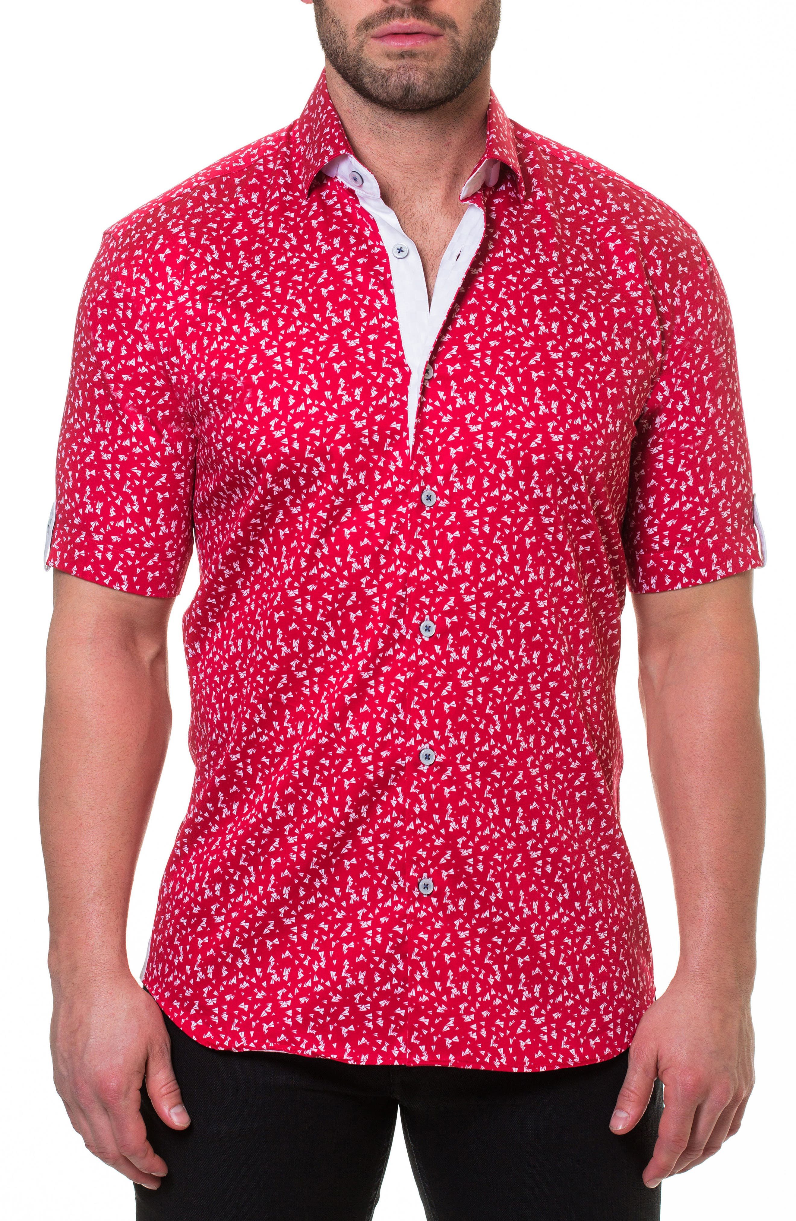 Maceoo Fresh Paper Plane Slim Fit Sport Shirt, Red